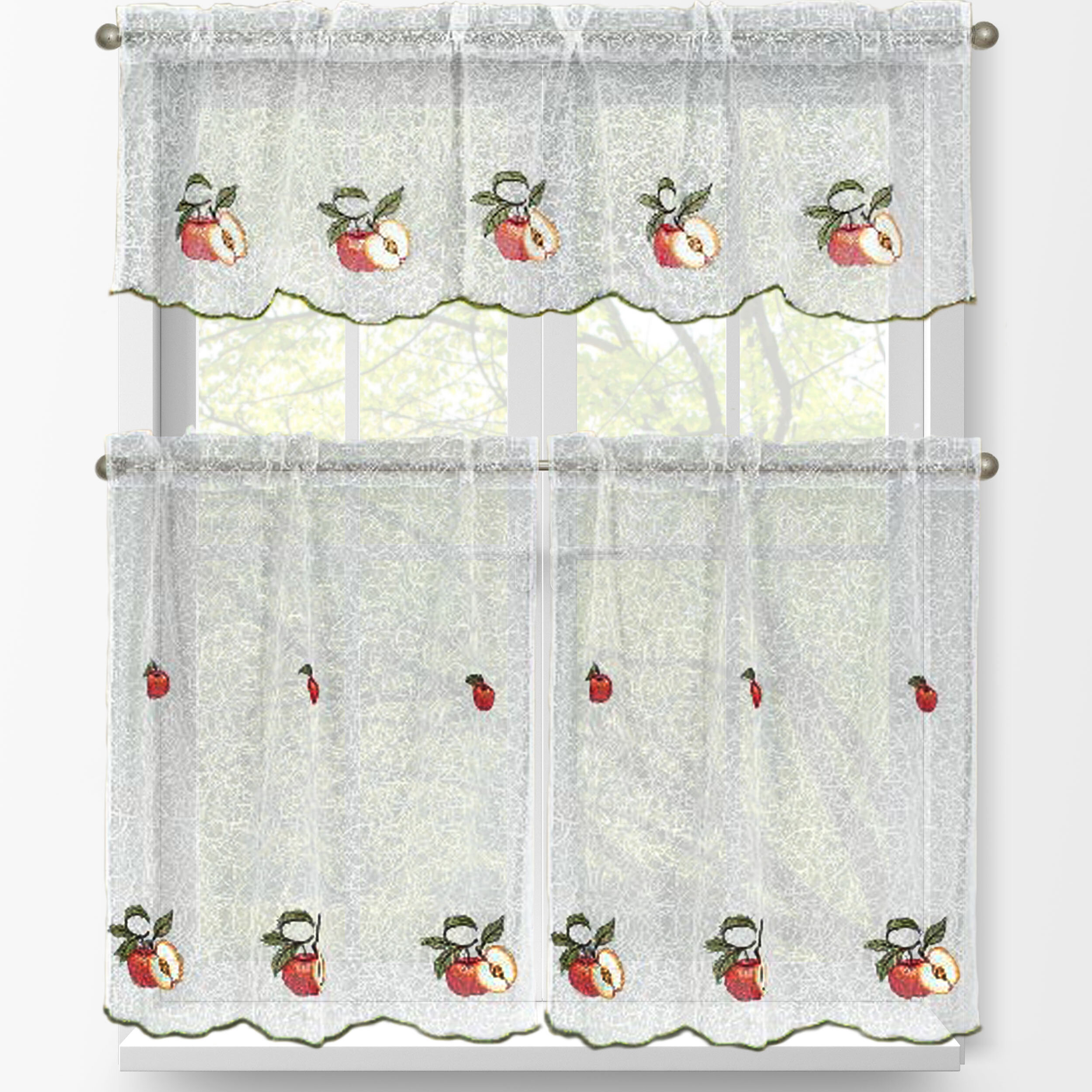 Red Apples 3 Piece Embroidered Kitchen Tier And Valance Set Intended For Red Delicious Apple 3 Piece Curtain Tiers (Gallery 5 of 20)