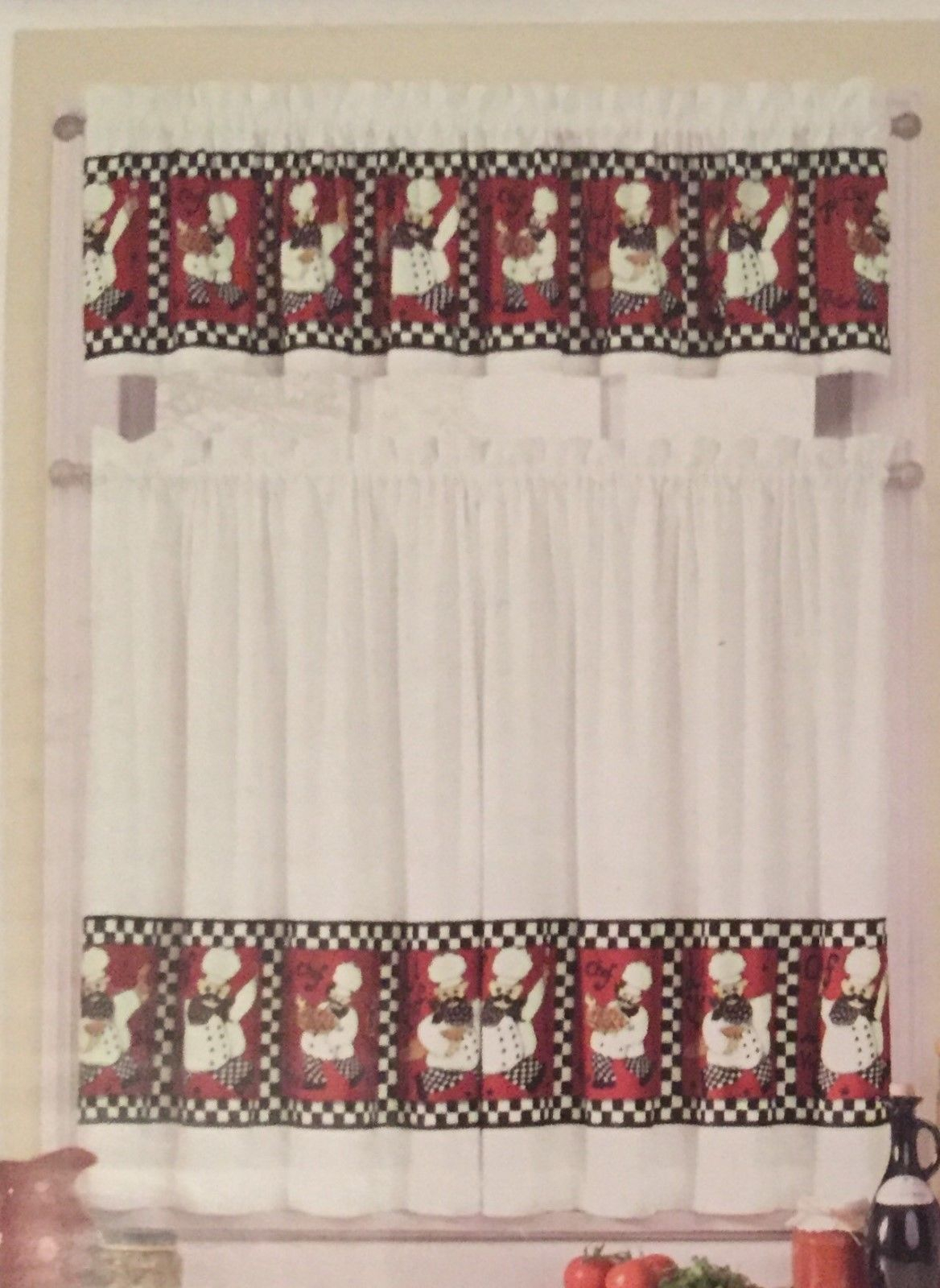 Red Fat Le Chef 36L Tiers And Valance Kitchen Curtain Set In Elegant White Priscilla Lace Kitchen Curtain Pieces (Gallery 11 of 20)