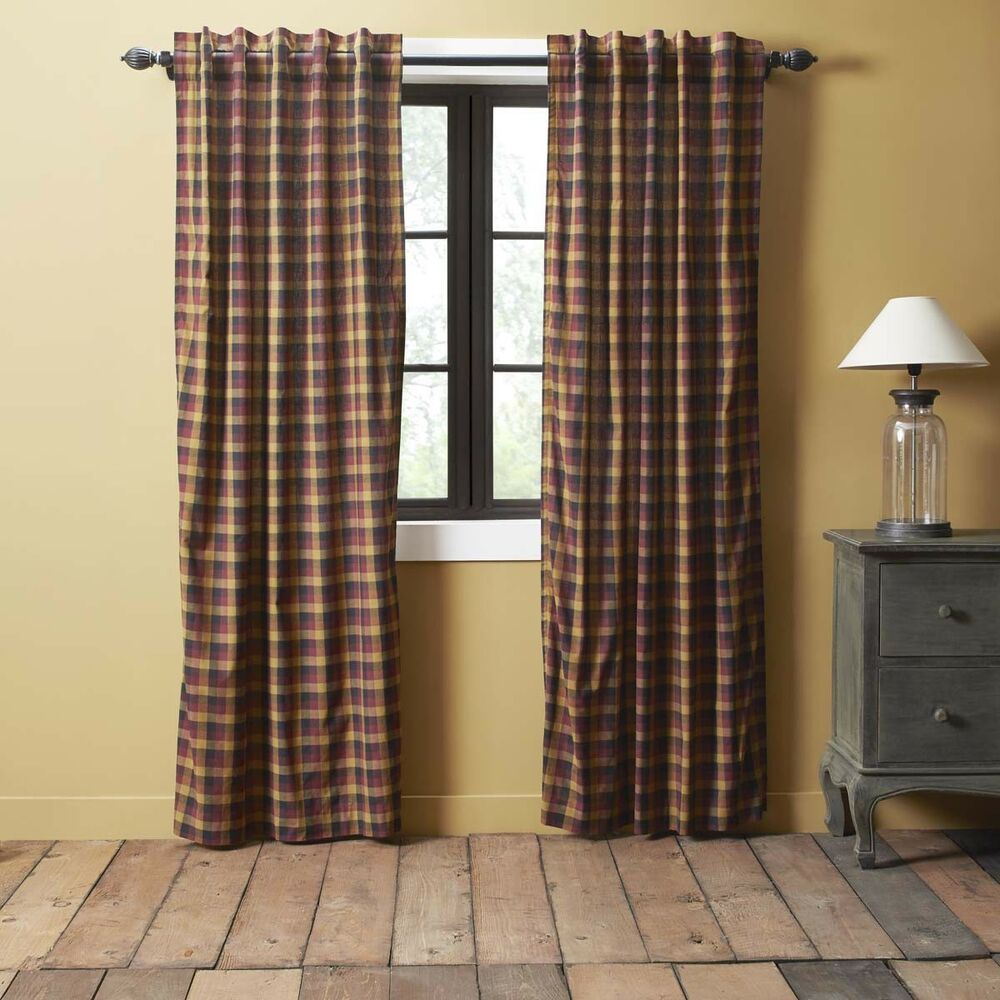Red Primitive Curtains Settlement Panel Pair Rod Pocket Cotton Plaid | Ebay With Regard To Rod Pocket Cotton Solid Color Ruched Ruffle Kitchen Curtains (Gallery 20 of 20)