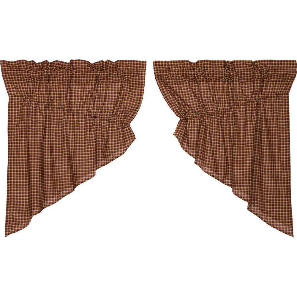 Red Primitive Kitchen Curtains Antique Patch Prairie Swag Pair Rod Pocket    Ebay In Rod Pocket Cotton Linen Blend Solid Color Flax Kitchen Curtains (Gallery 20 of 20)