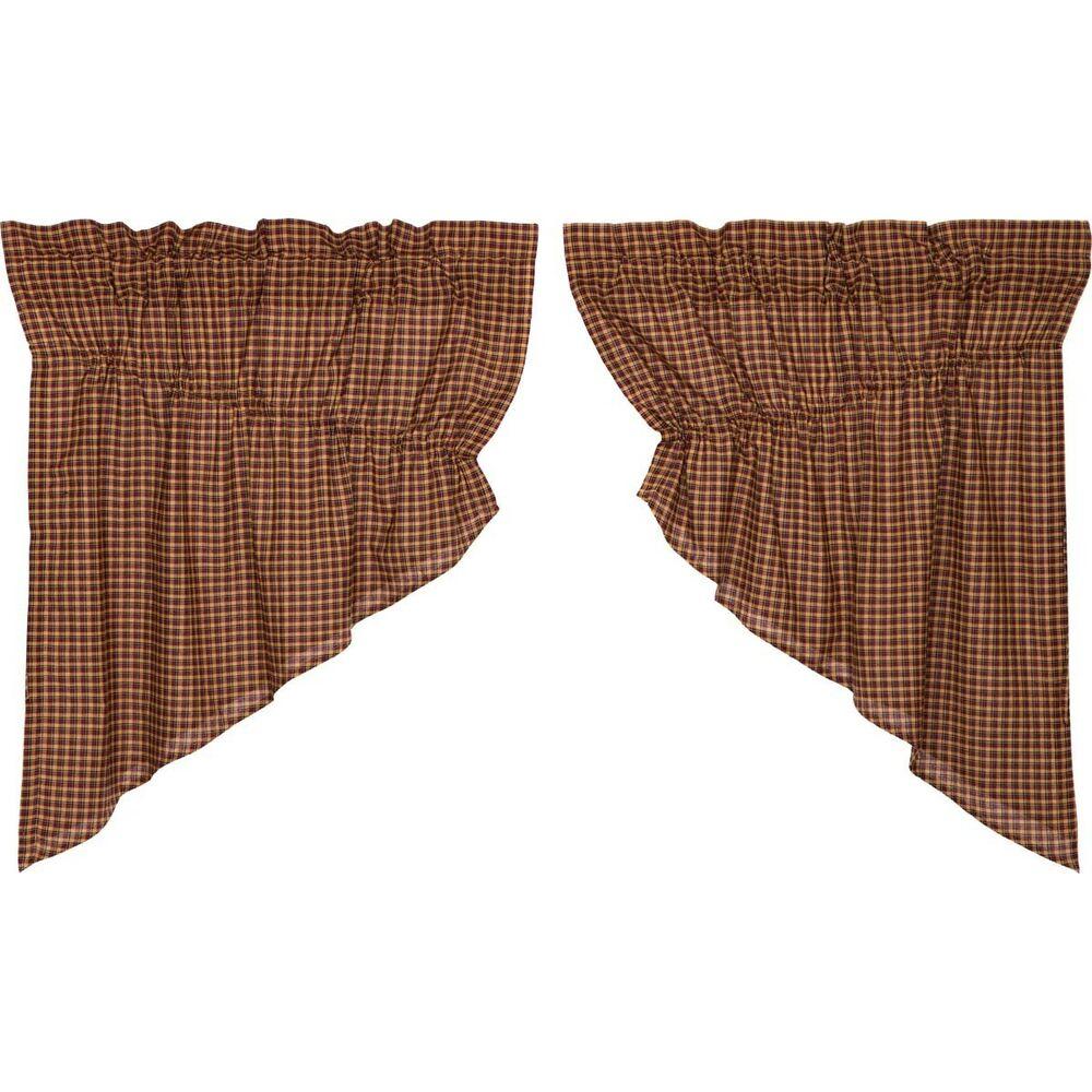 Red Primitive Kitchen Curtains Antique Patch Prairie Swag Pair Rod Pocket |  Ebay Regarding Red Primitive Kitchen Curtains (Gallery 5 of 20)