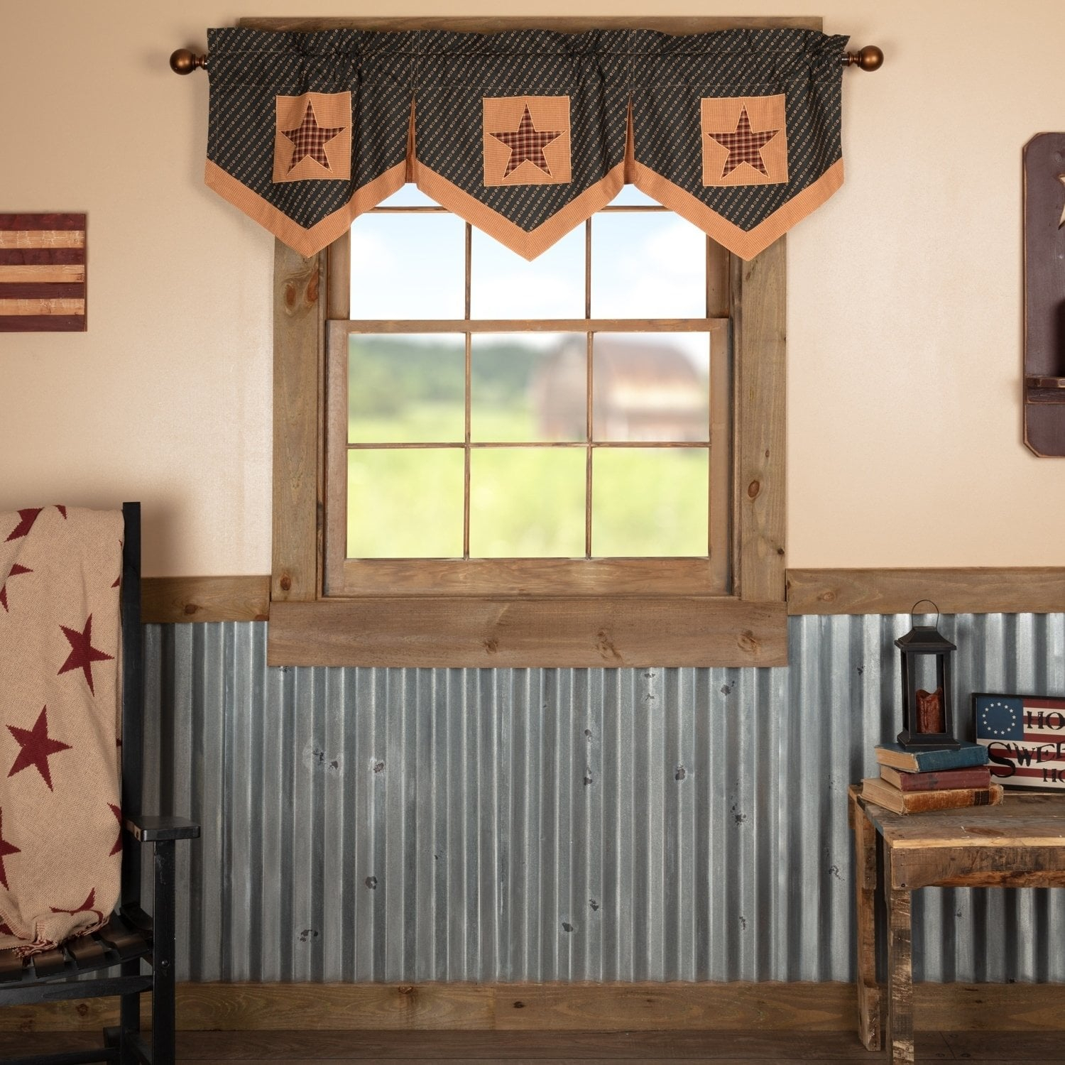 Red Primitive Kitchen Curtains Antique Patch Valance Rod With Regard To Red Primitive Kitchen Curtains (Gallery 2 of 20)