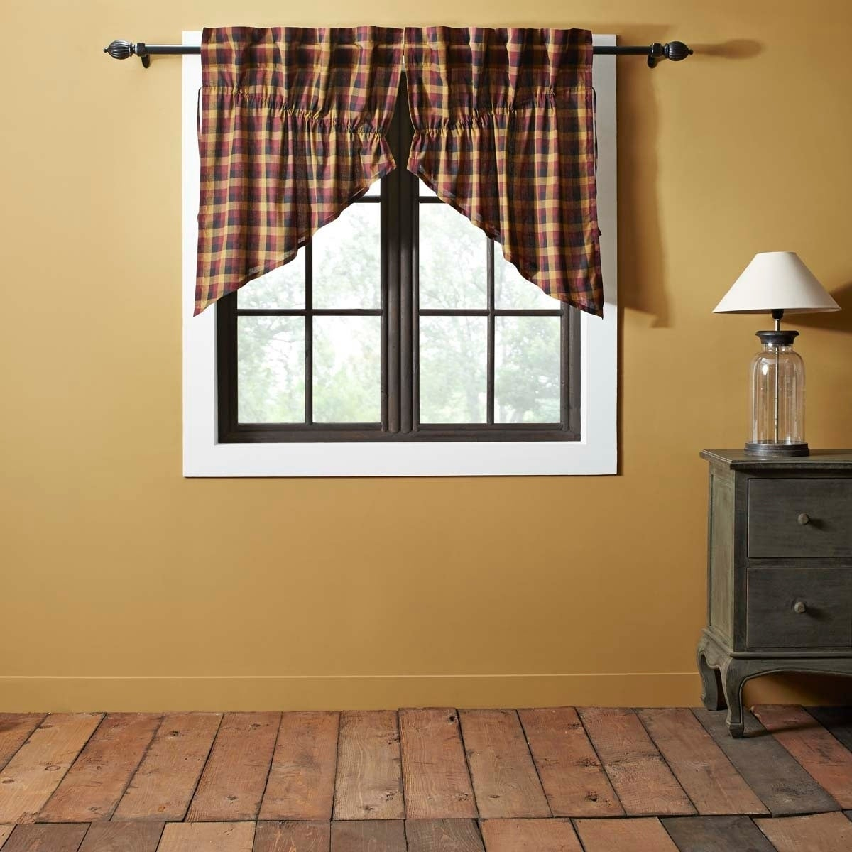Red Primitive Kitchen Curtains Vhc Heritage Farms Prairie Swag Pair Rod  Pocket Cotton Plaid – Prairie Swag 36X36X18 Regarding Primitive Kitchen Curtains (Gallery 6 of 20)