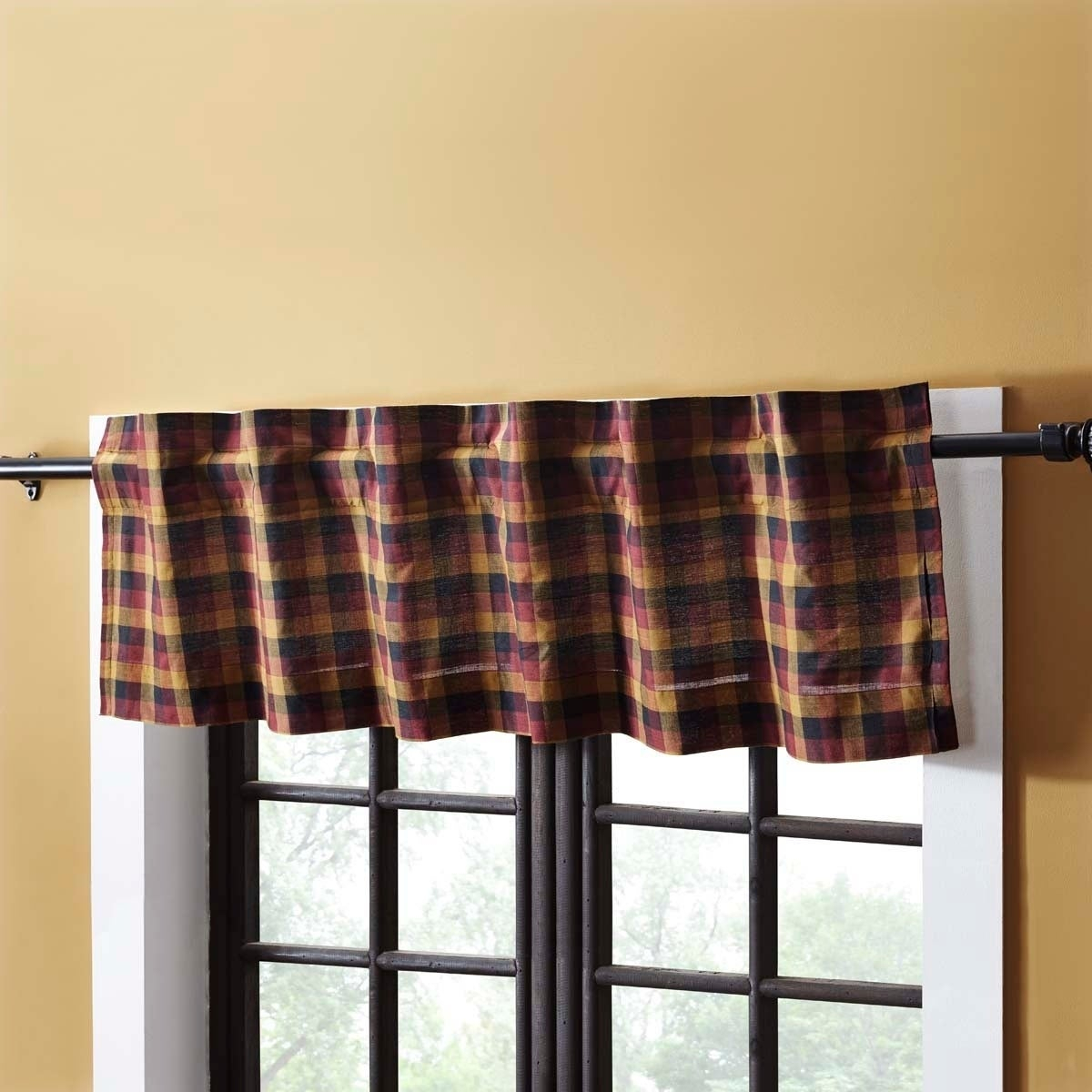 Red Primitive Kitchen Curtains Vhc Heritage Farms Valance Rod Pocket Cotton  Plaid – 16X72 Intended For Red Primitive Kitchen Curtains (Gallery 3 of 20)