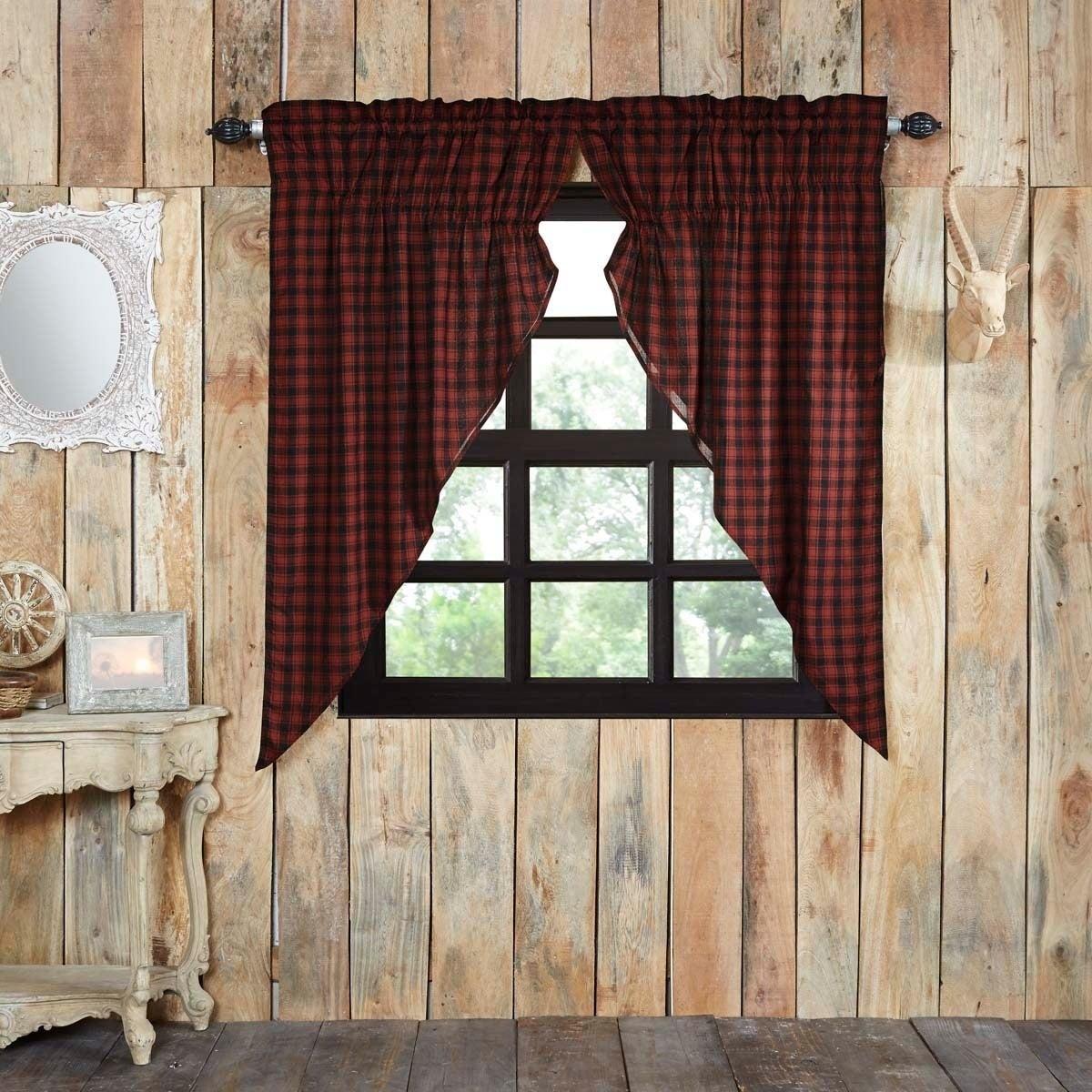 Red Rustic Curtains Vhc Cumberland Prairie Panel Pair Rod Pocket Cotton Buffalo Check – Prairie Panel 63X36 Intended For Cumberland Tier Pair Rod Pocket Cotton Buffalo Check Kitchen Curtains (View 18 of 20)