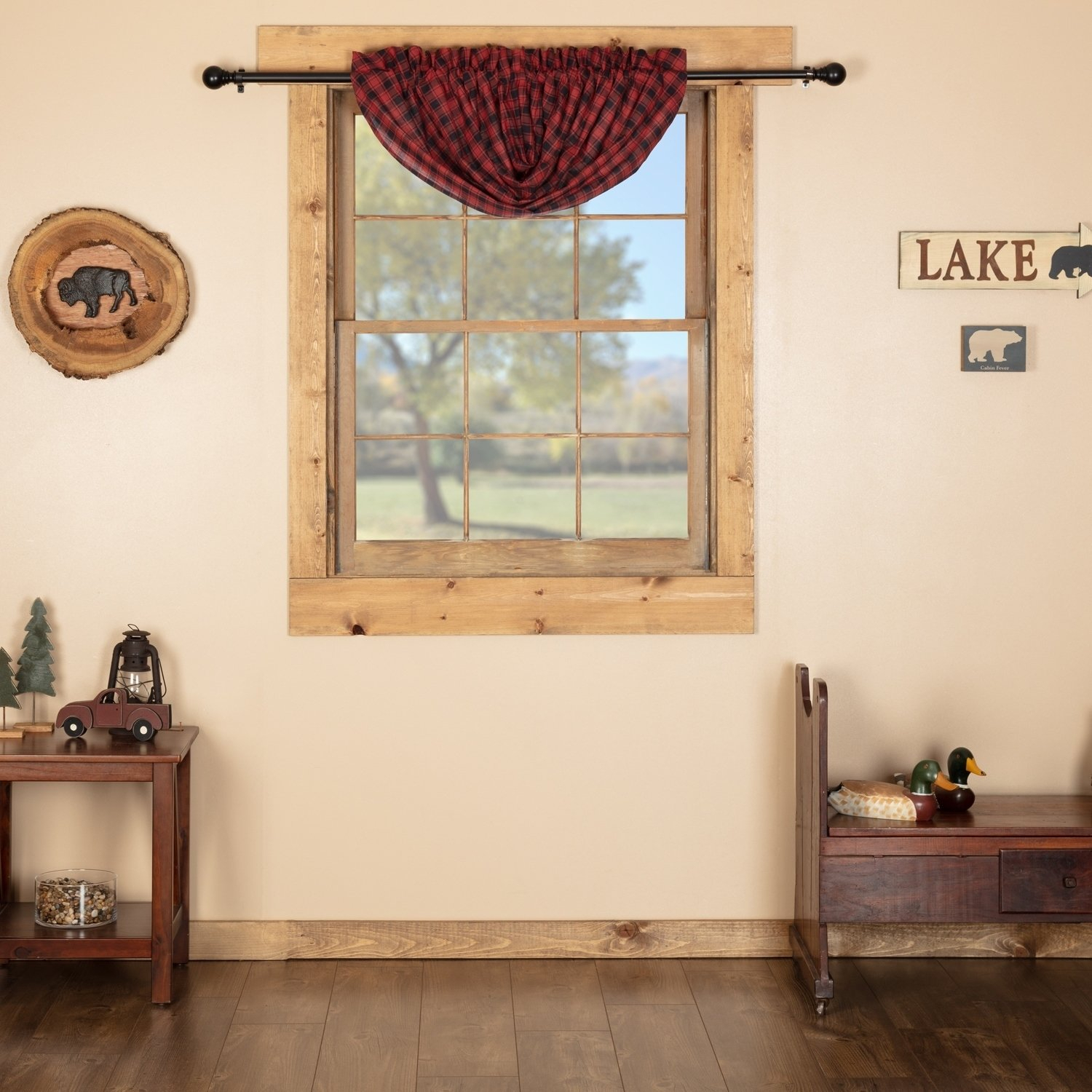 Red Rustic Kitchen Curtains Shasta Cabin Balloon Valance Rod Inside Red Rustic Kitchen Curtains (Gallery 4 of 20)