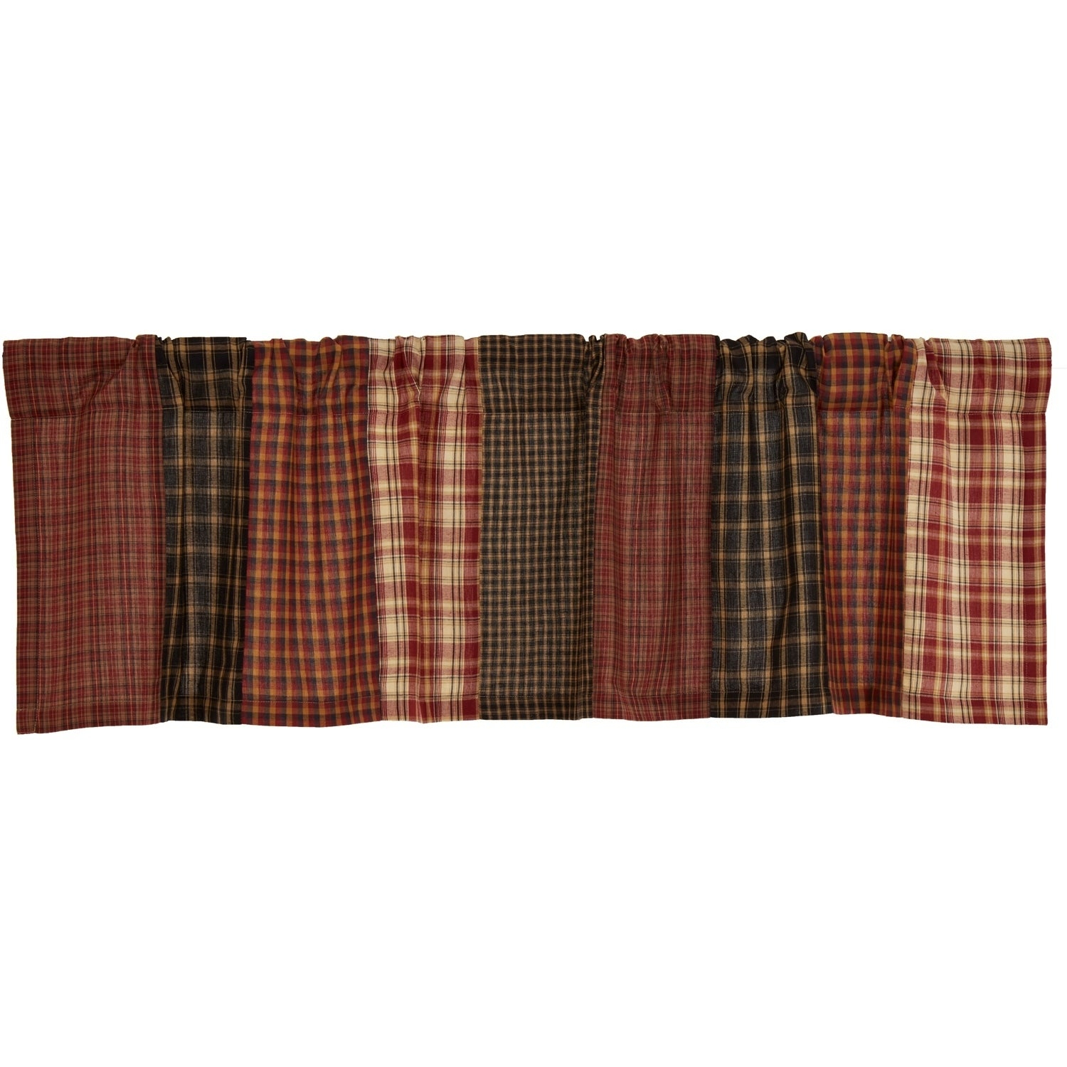 Red Rustic Kitchen Curtains Vhc Beckham Patchwork Valance Rod Pocket Cotton With Regard To Red Rustic Kitchen Curtains (Gallery 12 of 20)