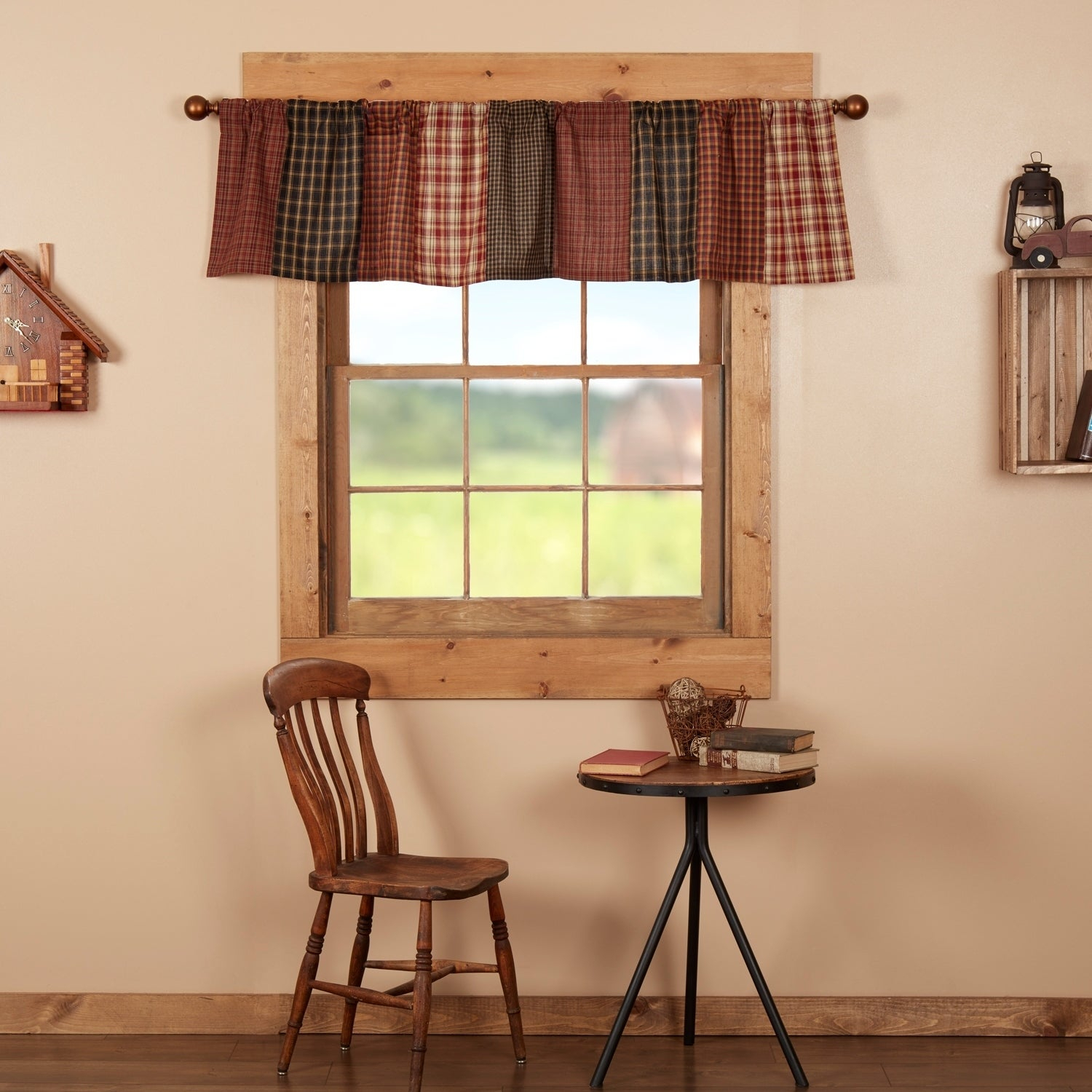 Red Rustic Kitchen Curtains Vhc Beckham Patchwork Valance Rod Pocket Cotton With Regard To Red Rustic Kitchen Curtains (Gallery 1 of 20)