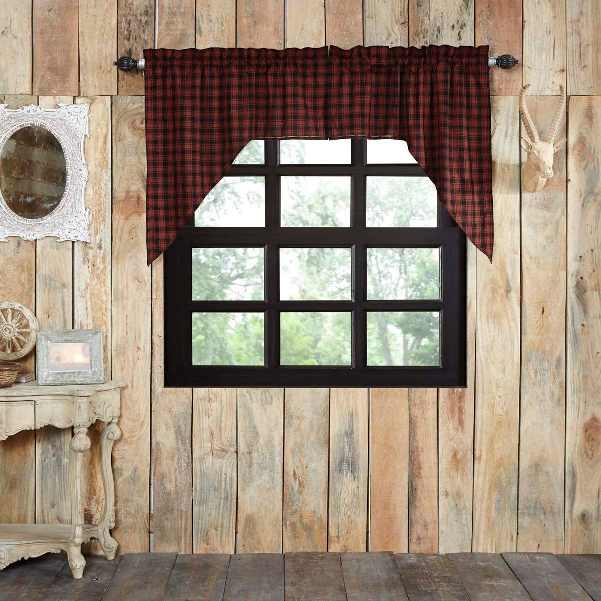 Red Rustic Kitchen Curtains Vhc Cumberland Swag Pair Rod Pocket Cotton  Buffalo Check – Swag 36X36X16 In Red Rustic Kitchen Curtains (Gallery 5 of 20)