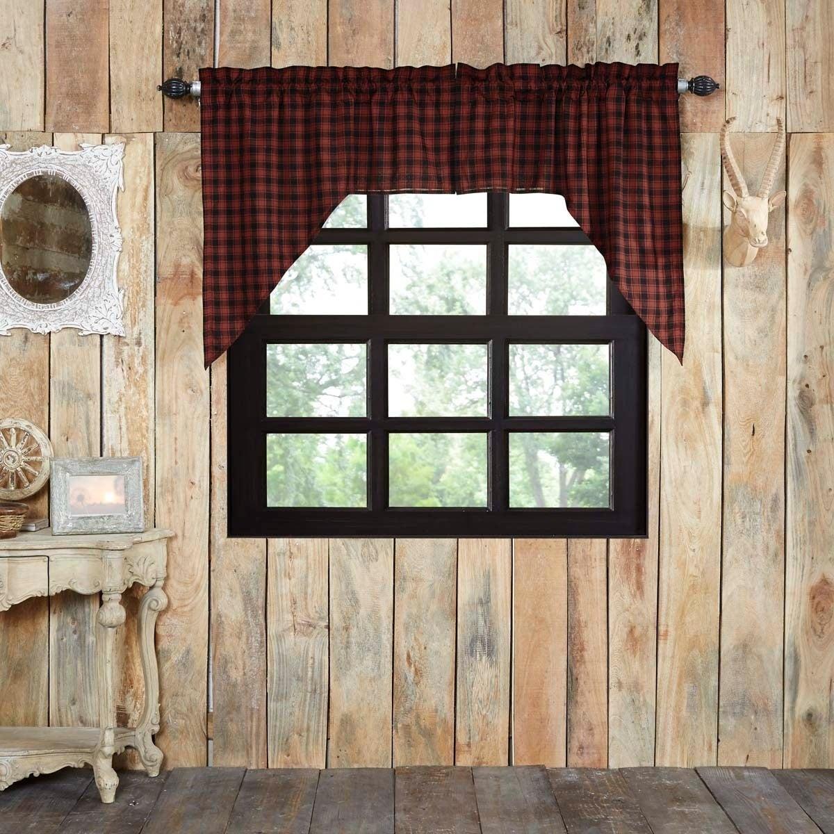 Popular Photo of Cumberland Tier Pair Rod Pocket Cotton Buffalo Check Kitchen Curtains