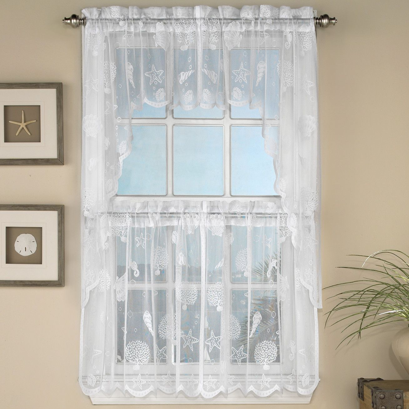 Reef Marine Semi Sheer Rod Pocket Kitchen Curtain Panels With Regard To Semi Sheer Rod Pocket Kitchen Curtain Valance And Tiers Sets (View 15 of 20)