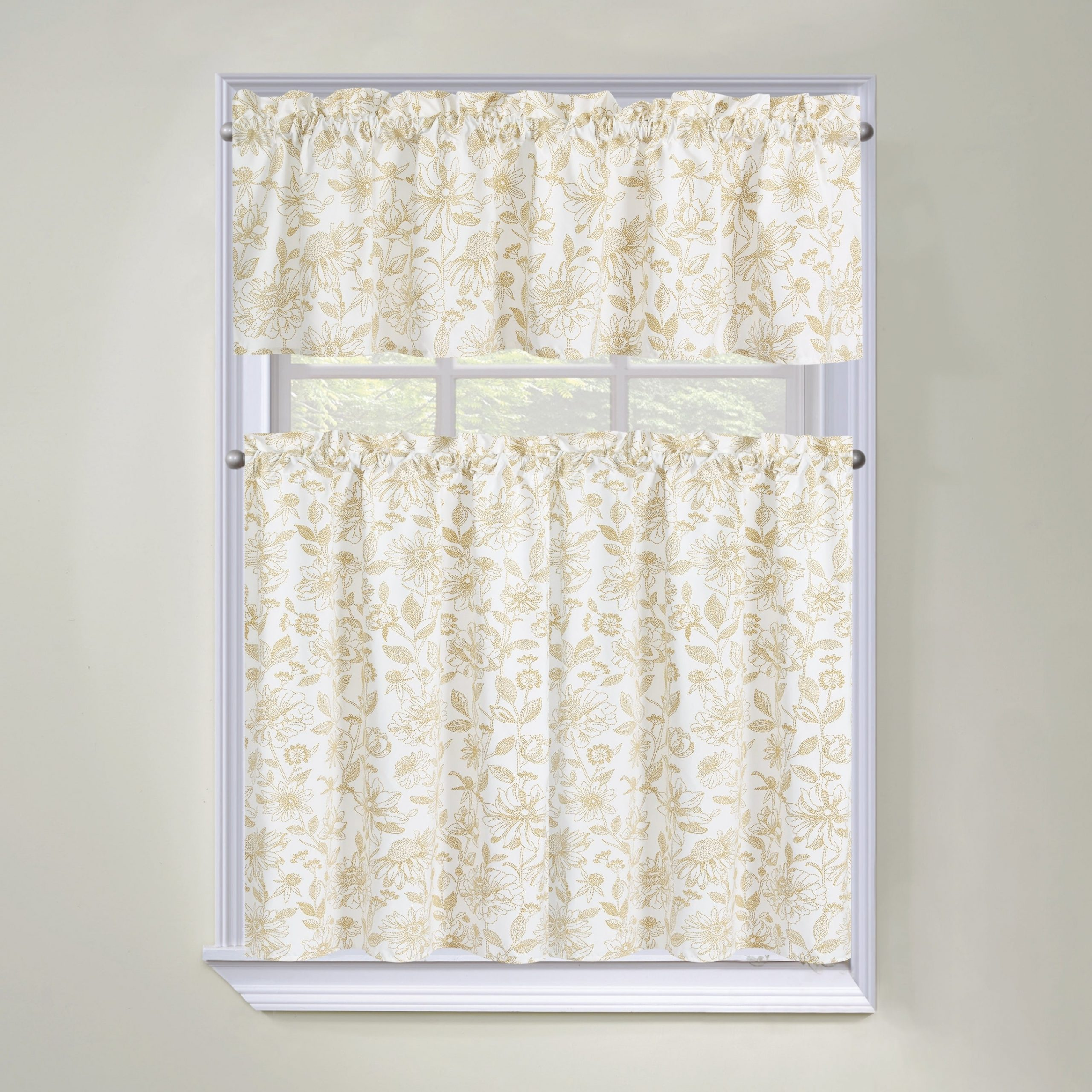 Regal Home Collections Amelia Floral 3 Piece Tier Curtain And Valance Set –  60 W X36 L Inches Within Seabreeze 36 Inch Tier Pairs In Ocean (Gallery 8 of 20)