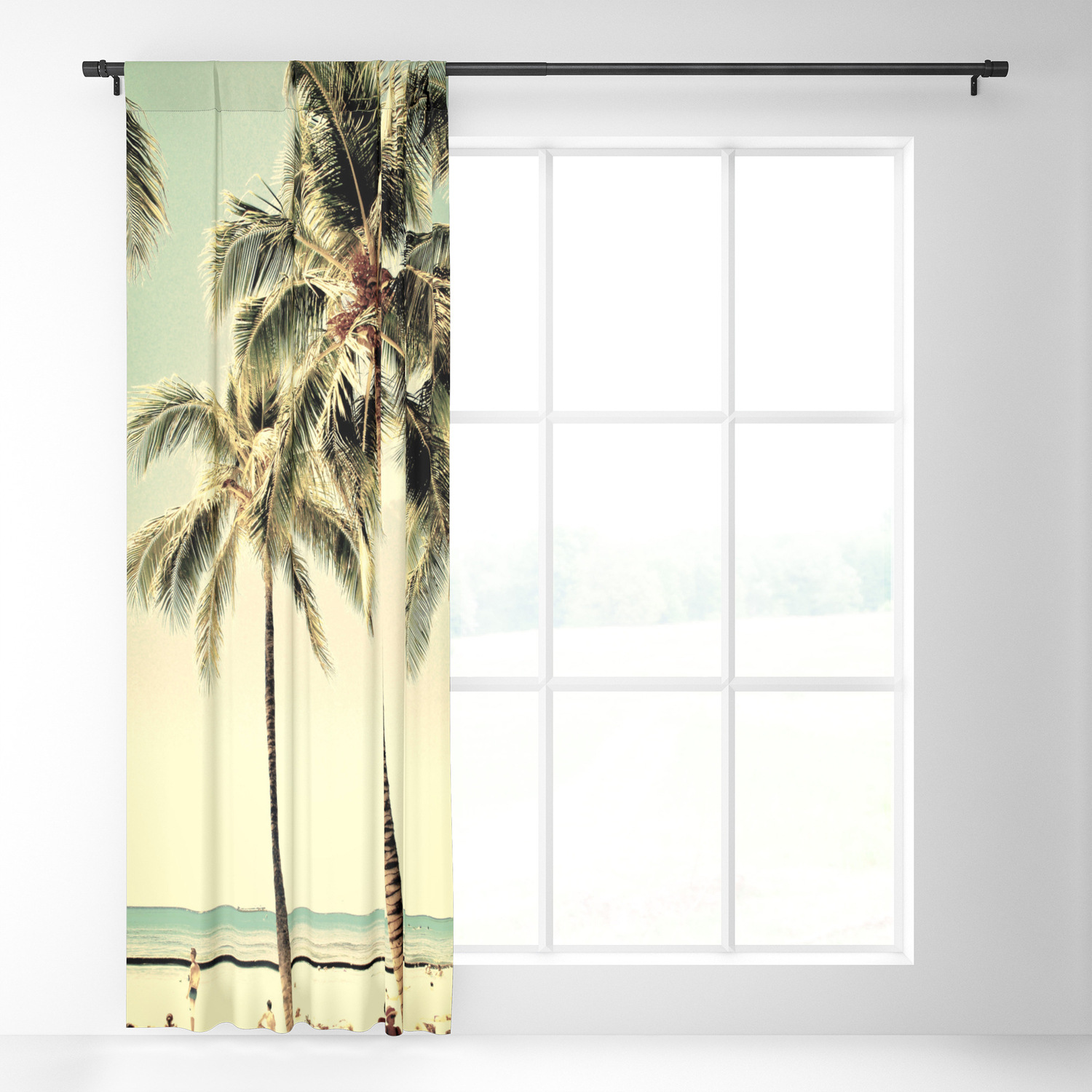 Retro Vintage Palm Tree With Hawaii Summer Sea Beach Blackout Curtain Lifeisbeautiful In Vintage Sea Shore All Over Printed Window Curtains (Gallery 9 of 20)