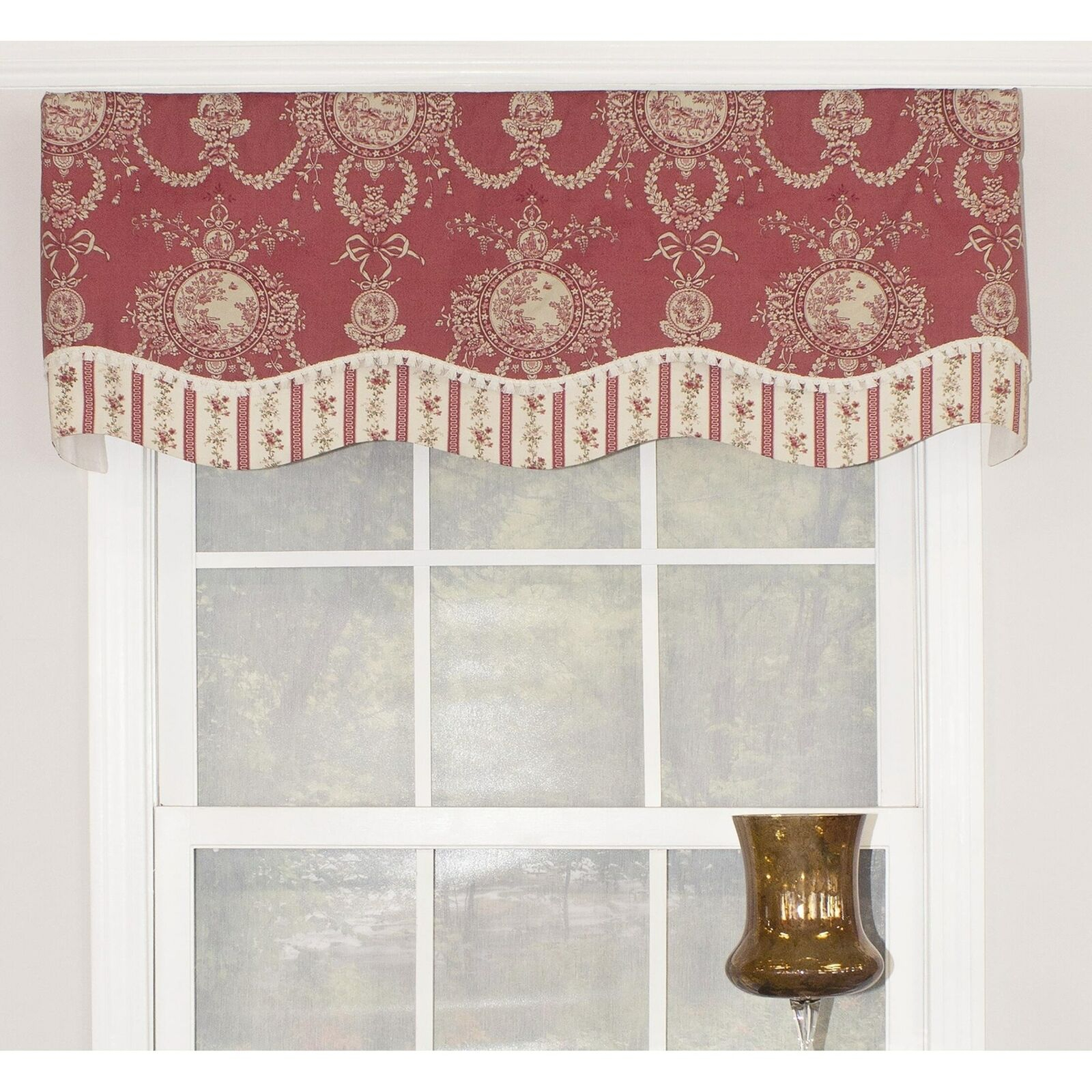 """Rlf Home Cameo Toile Glory 50"""" Window Valance – Red Red, Cream, Off White  Horizo Throughout Aviary Window Curtains (Gallery 10 of 20)"""