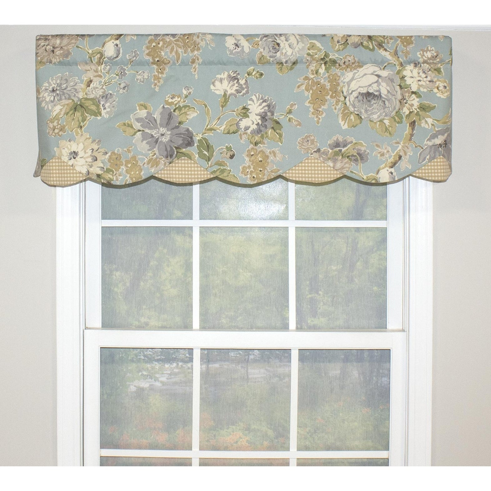 "Rlf Home Floral Bouquet Petticoat 50"" Window Valance Intended For Floral Pattern Window Valances (Gallery 12 of 20)"