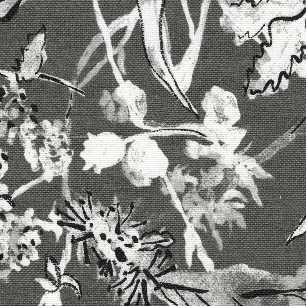 Rod Pocket Curtain Panels Pair Garden Party Ink Floral Gray Cotton Linen With Floral Blossom Ink Painting Thermal Room Darkening Kitchen Tier Pairs (View 13 of 20)