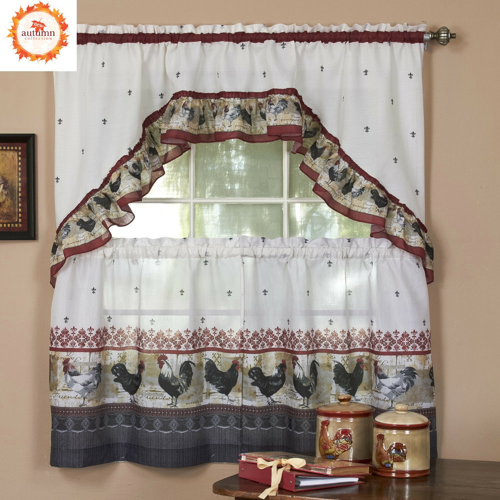 Rooster Complete Kitchen Curtain Tier And Swag Set – Assorted Sizes With Regard To Delicious Apples Kitchen Curtain Tier And Valance Sets (Gallery 4 of 20)