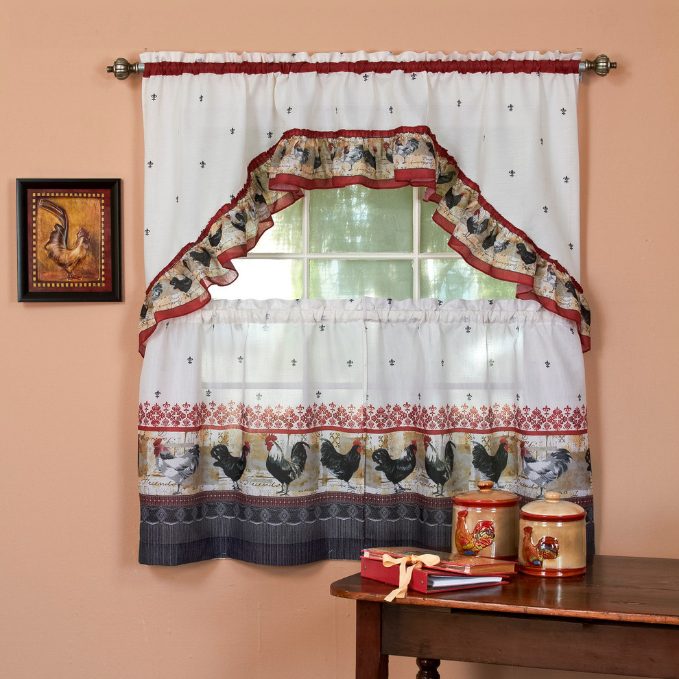 "Rooster, Printed Tier And Swag Window Curtain Set, 57""x36"", Burgundy Regarding Chardonnay Tier And Swag Kitchen Curtain Sets (View 18 of 20)"