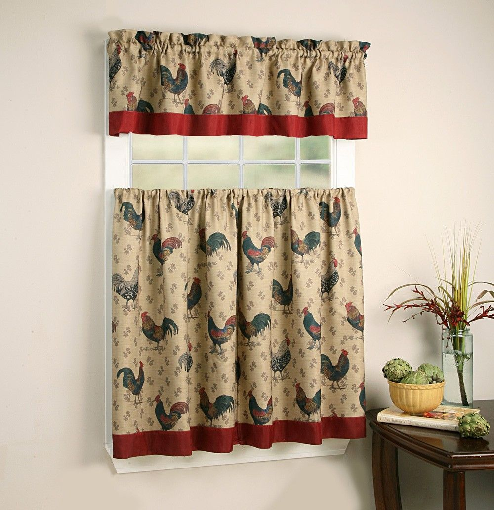 Rooster Themed Kitchen Curtains And Valances Sets | Kitchen For Top Of The Morning Printed Tailored Cottage Curtain Tier Sets (Photo 14 of 20)