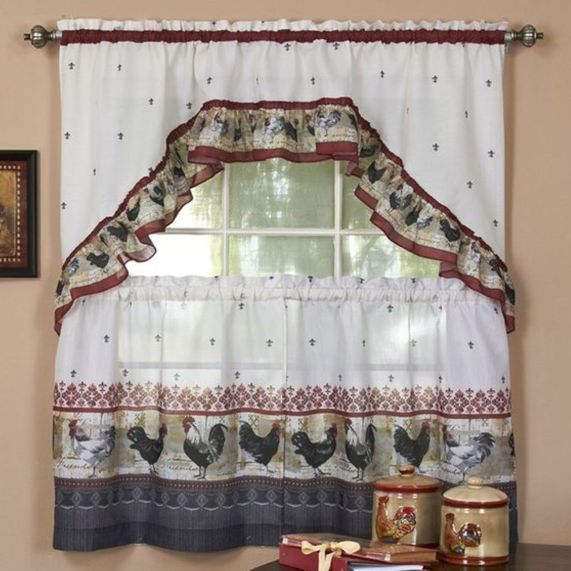 Rooster Tier And Swag Set Burgundy | Country Konyha Intended For Top Of The Morning Printed Tailored Cottage Curtain Tier Sets (Gallery 1 of 20)