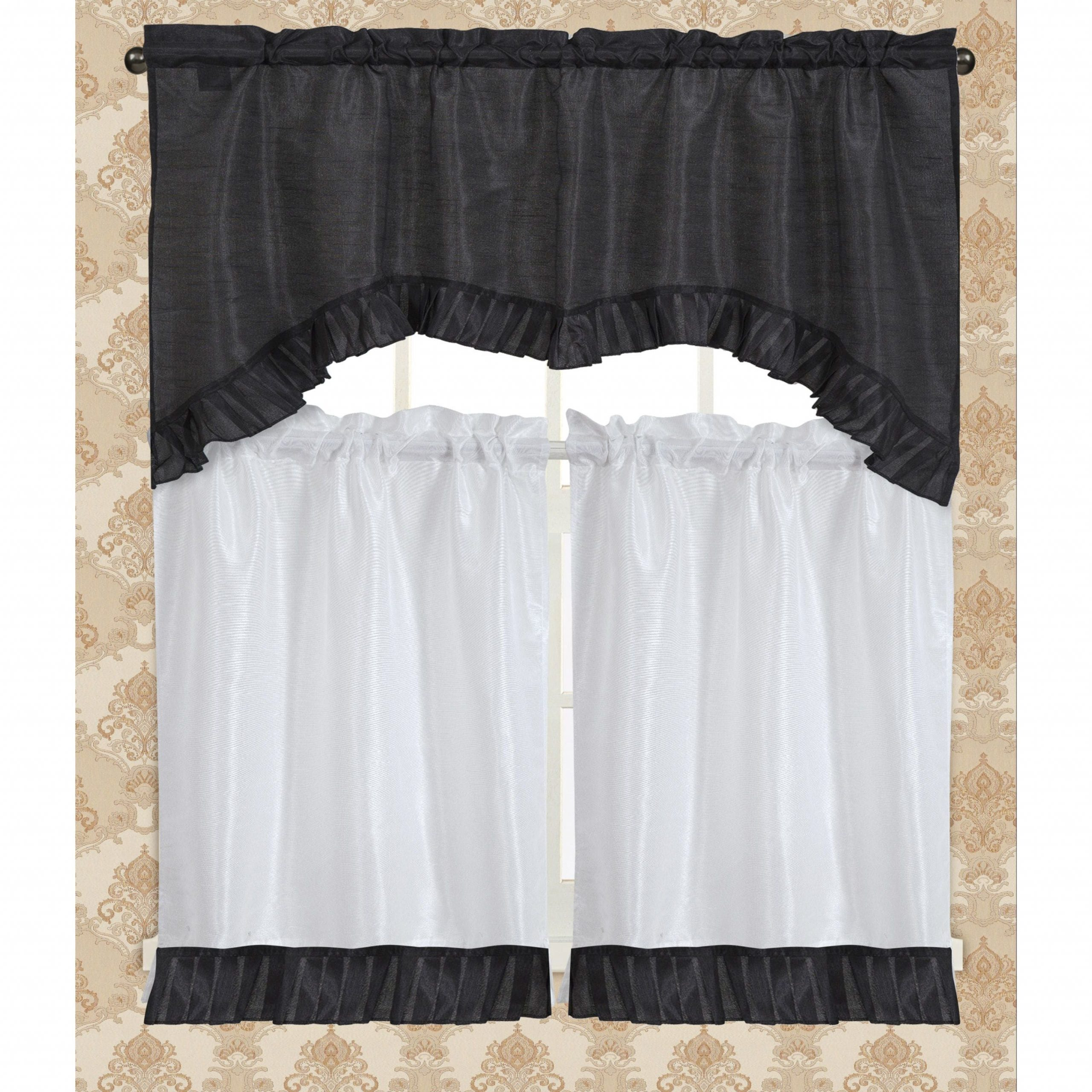 Featured Photo of Bermuda Ruffle Kitchen Curtain Tier Sets