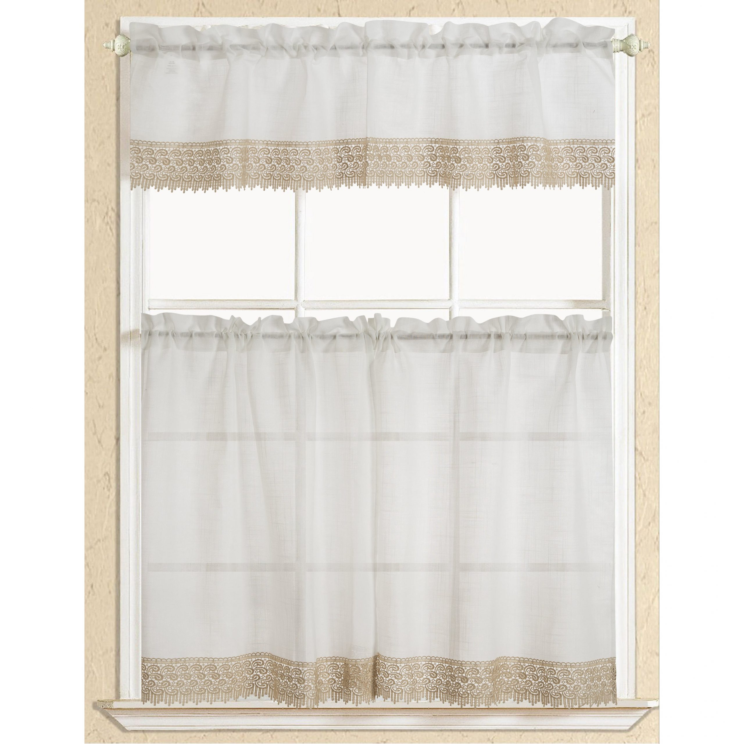 Rt Designers Collection Evie Macrame Border Tier And Valance Kitchen  Curtain Set Within Abby Embroidered 5 Piece Curtain Tier And Swag Sets (Image 18 of 20)