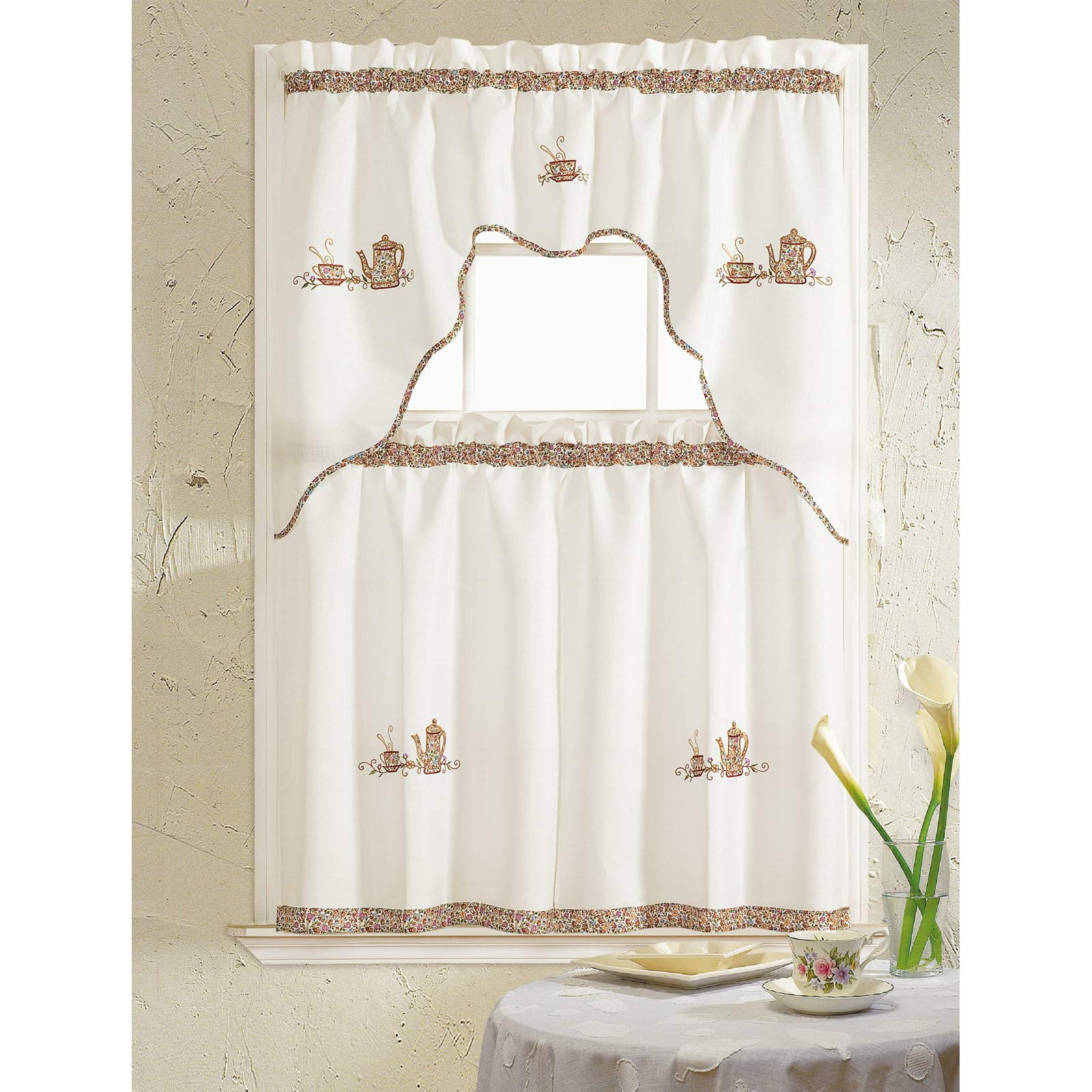 Rt Designers Collection Grand Coffee Embroidered Kitchen Intended For Coffee Embroidered Kitchen Curtain Tier Sets (Gallery 2 of 20)