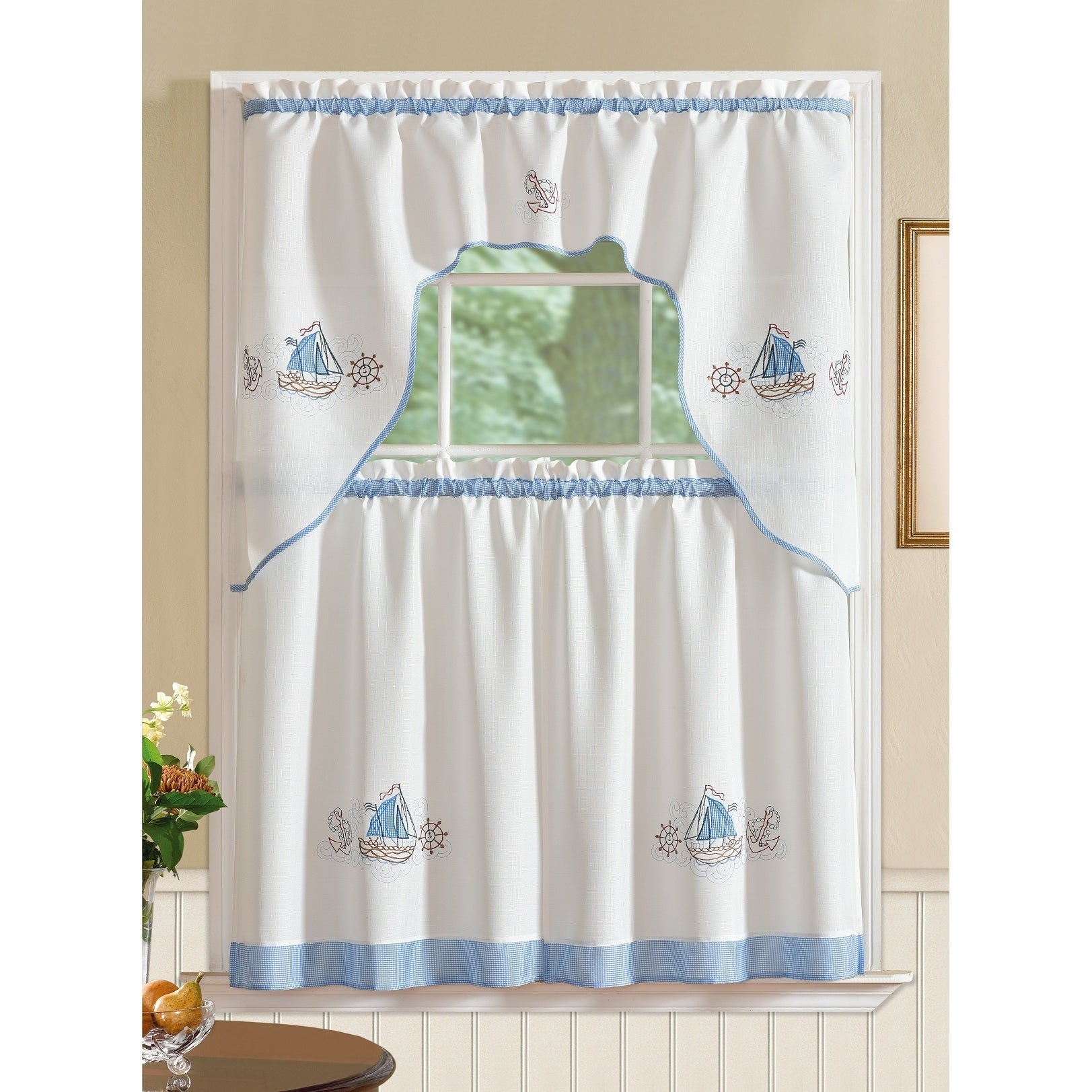 Rt Designers Collection Grand Ocean Embroidered Curtain Tier Set Intended For Seabreeze 36 Inch Tier Pairs In Ocean (Gallery 10 of 20)