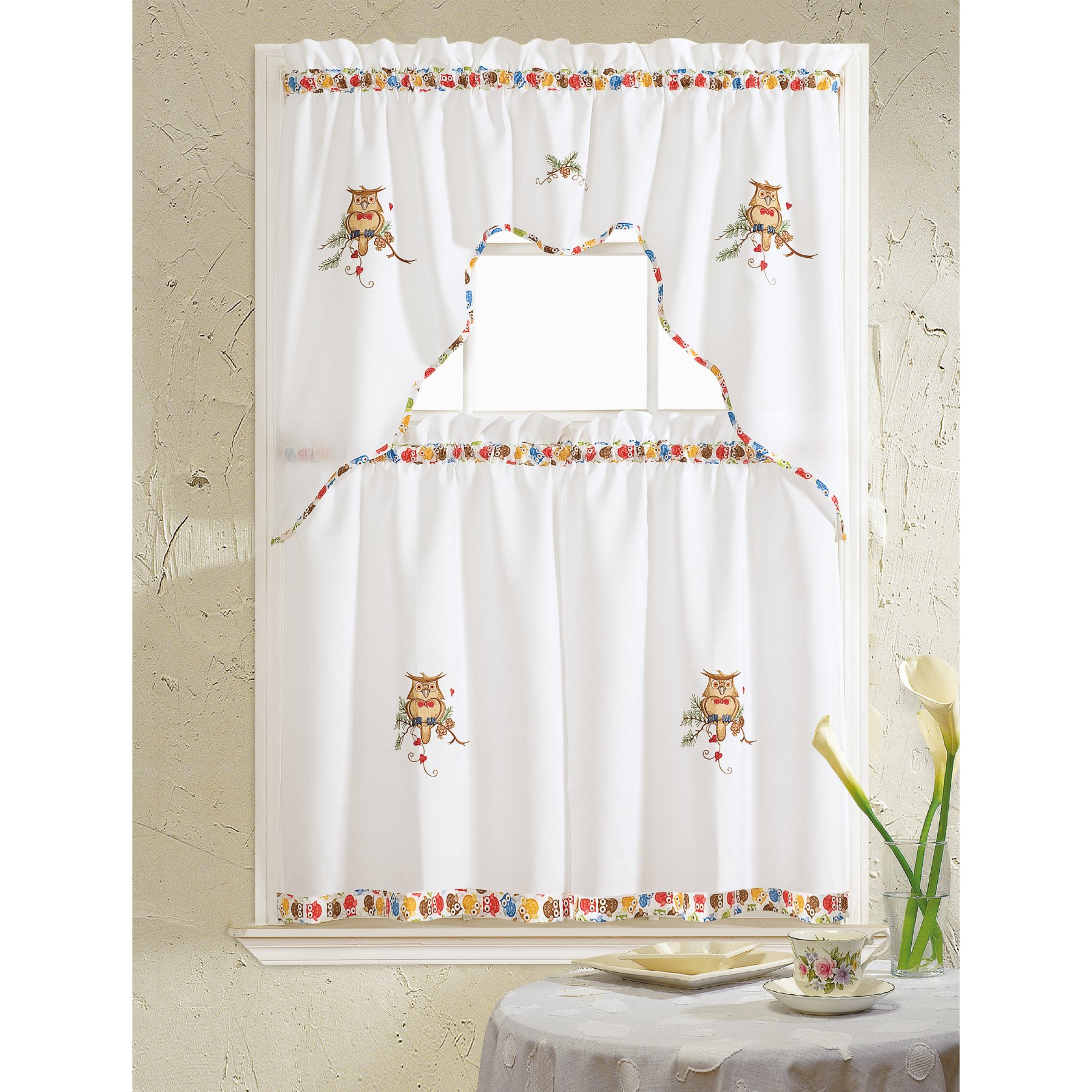 Rt Designers Collection Grand Owl Embroidered Kitchen In Urban Embroidered Tier And Valance Kitchen Curtain Tier Sets (Gallery 7 of 20)