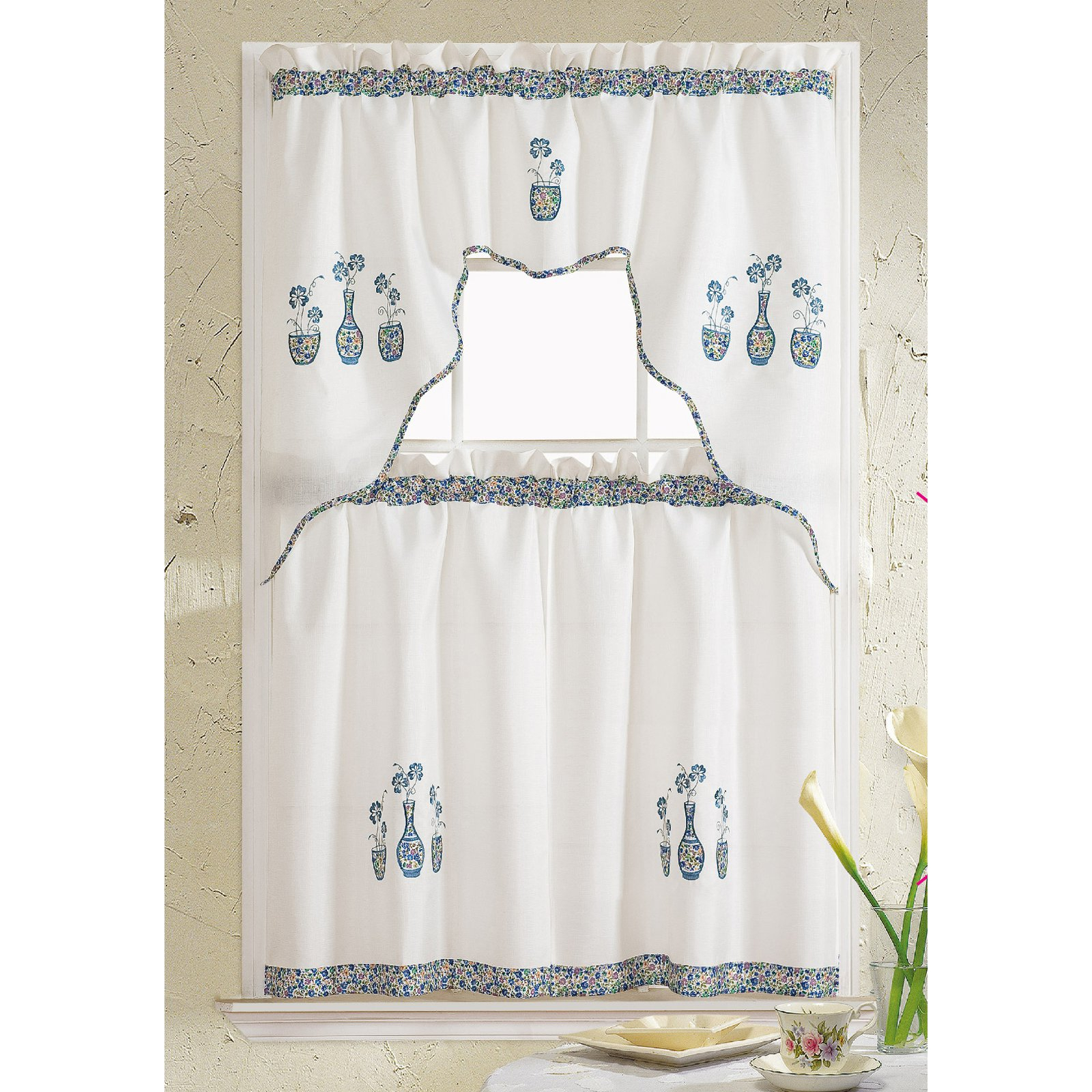 Rt Designers Collection Grand Vase Embroidered Kitchen With Regard To Traditional Two Piece Tailored Tier And Valance Window Curtains (View 17 of 20)
