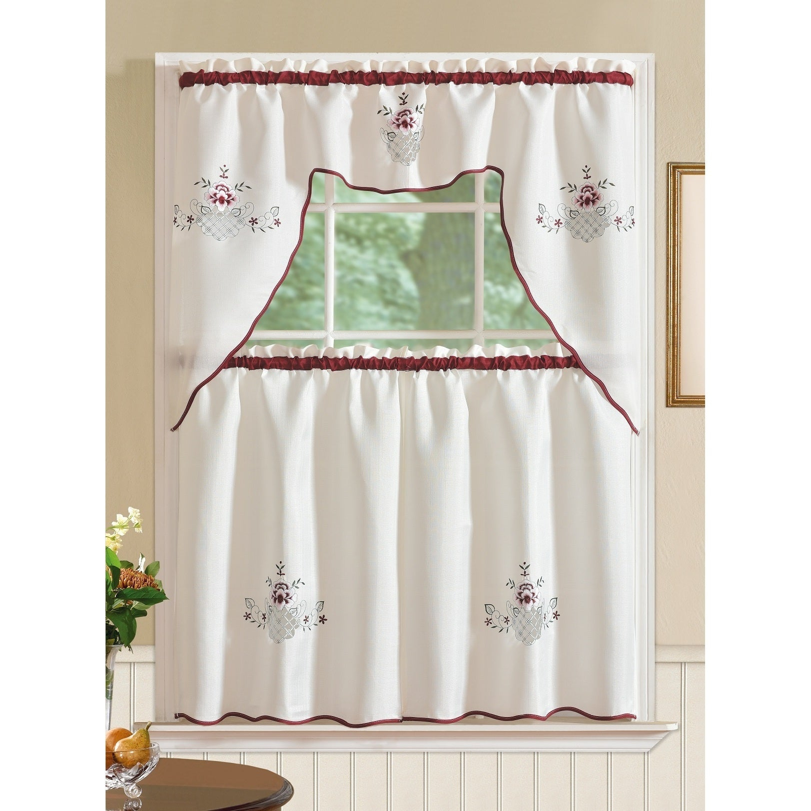 Rt Designers Collection Imperial Flower Jacquard Tier And Valance Kitchen Curtain Set Intended For Grace Cinnabar 5 Piece Curtain Tier And Swag Sets (View 8 of 20)