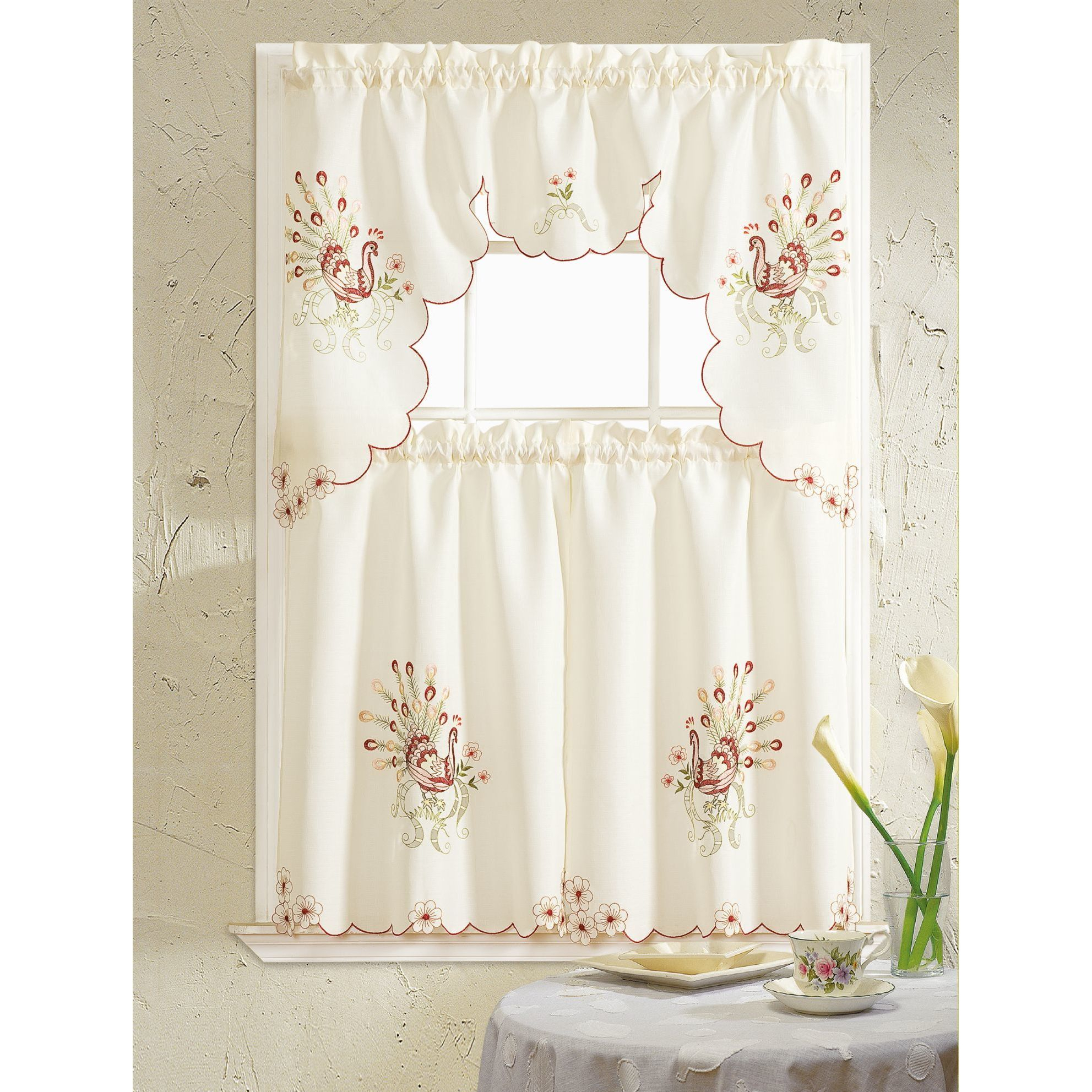 Rt Designers Collection Peacock Embroidered Tiers And Valance Kitchen Curtain Set For Embroidered Ladybugs Window Curtain Pieces (View 4 of 20)