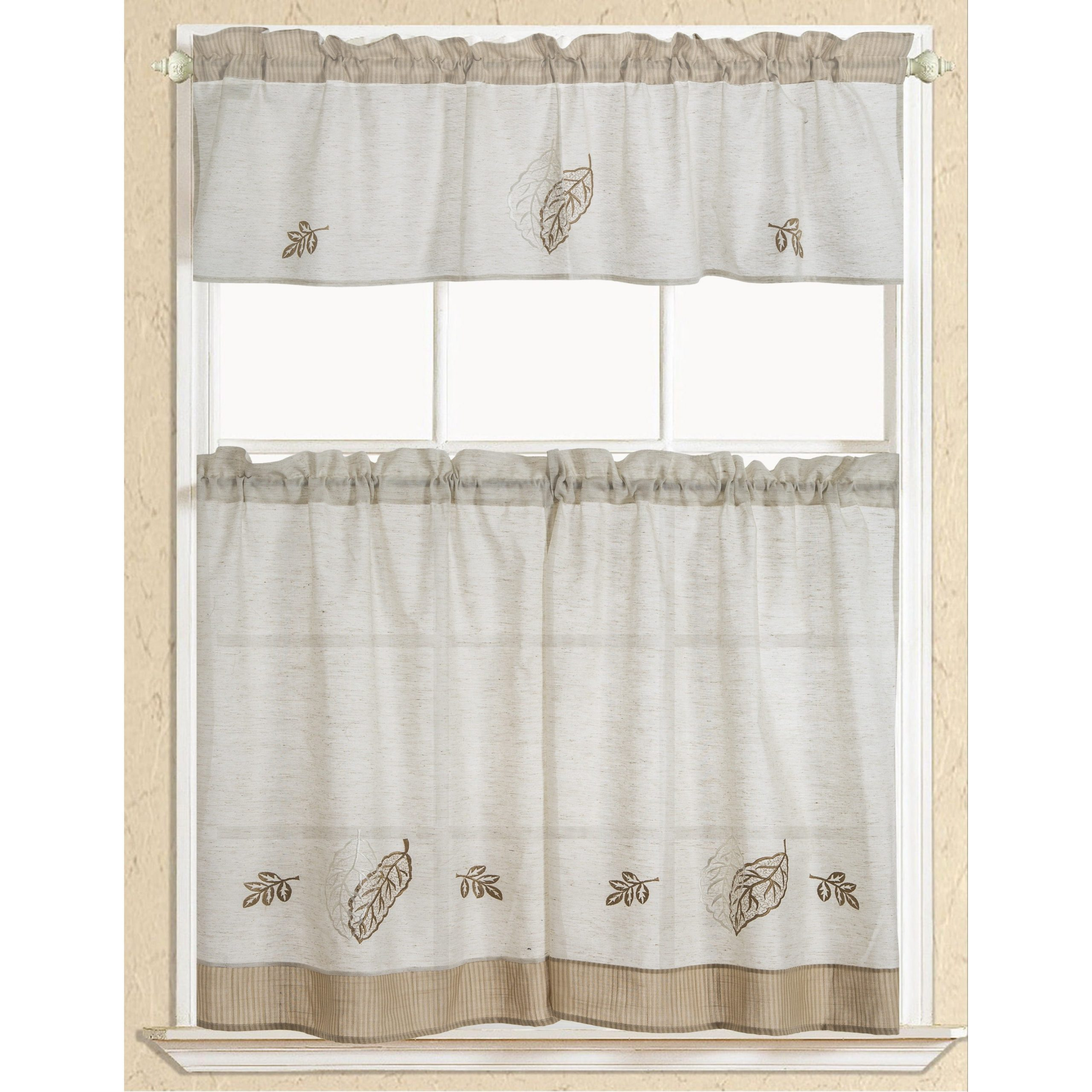 Rt Designers Collection Rustic Embroidered Leaf Tier And Valance Kitchen  Curtain Set Intended For Forest Valance And Tier Pair Curtains (Gallery 10 of 20)