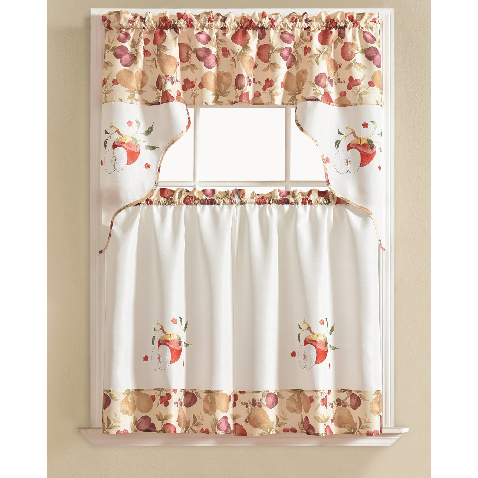 Rt Designers Collection Urban Embroidered Apple Kitchen For Coffee Embroidered Kitchen Curtain Tier Sets (Gallery 9 of 20)