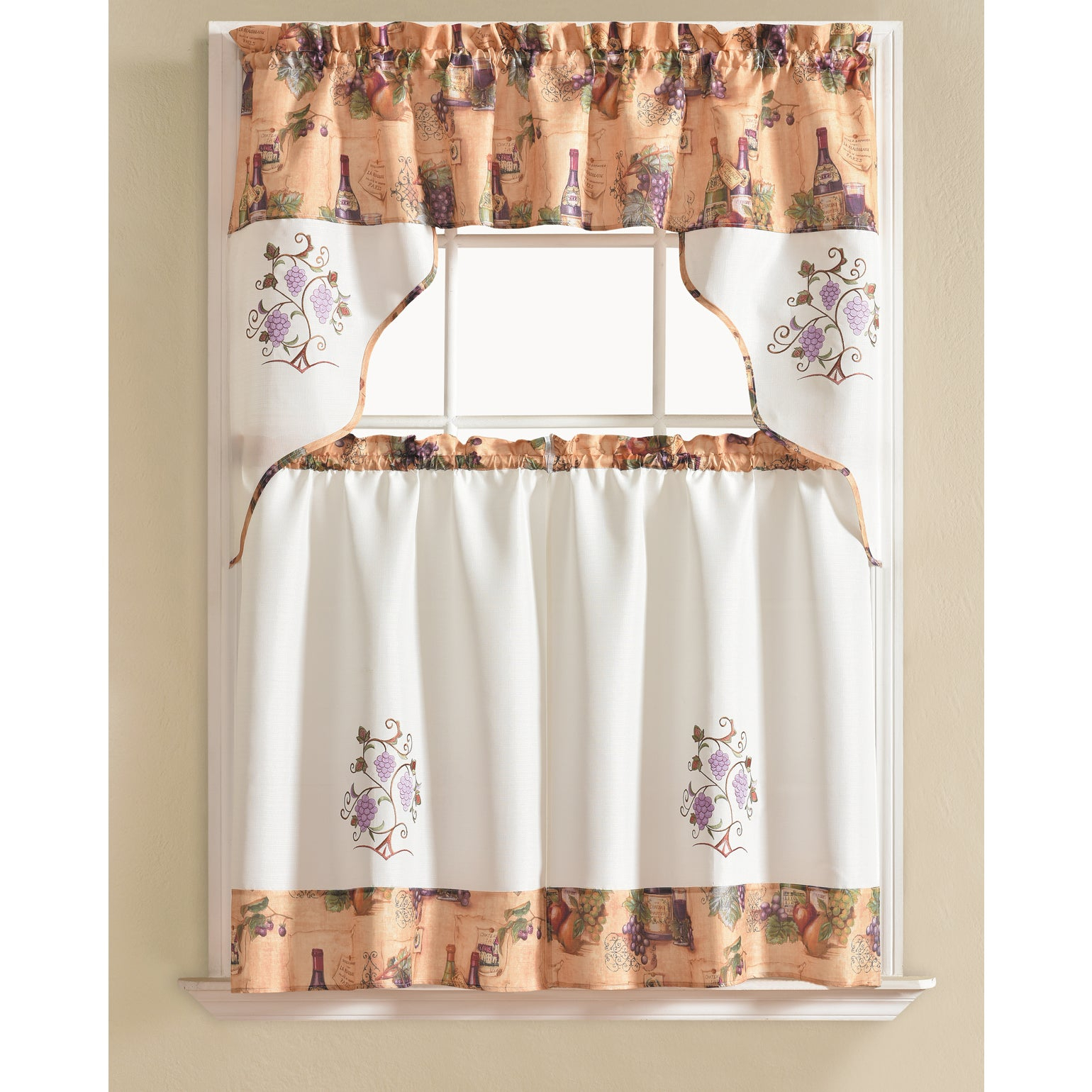 Rt Designers Collection Urban Embroidered Tier And Valance Kitchen Curtain  Tier Set Pertaining To Embroidered Chef Black 5 Piece Kitchen Curtain Sets (Gallery 4 of 20)