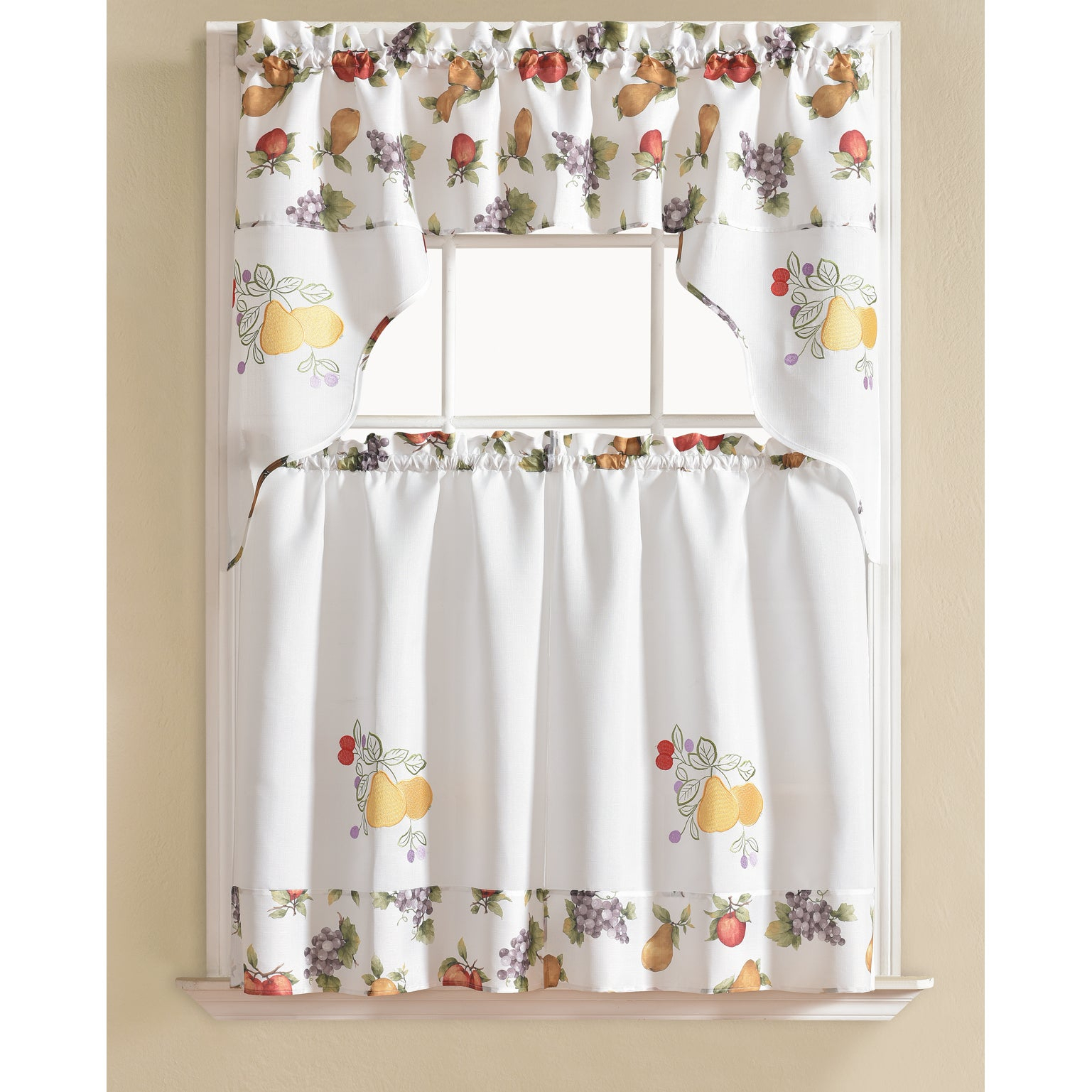Rt Designers Collection Urban Embroidered Tier And Valance Kitchen Curtain  Tier Set Throughout Lemon Drop Tier And Valance Window Curtain Sets (Photo 16 of 20)