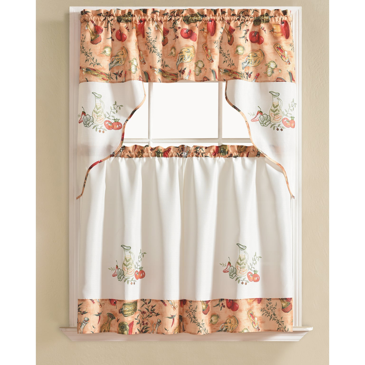 Rt Designers Collection Urban Embroidered Tier And Valance Kitchen Curtain  Tier Set With Regard To Lemon Drop Tier And Valance Window Curtain Sets (Gallery 6 of 20)