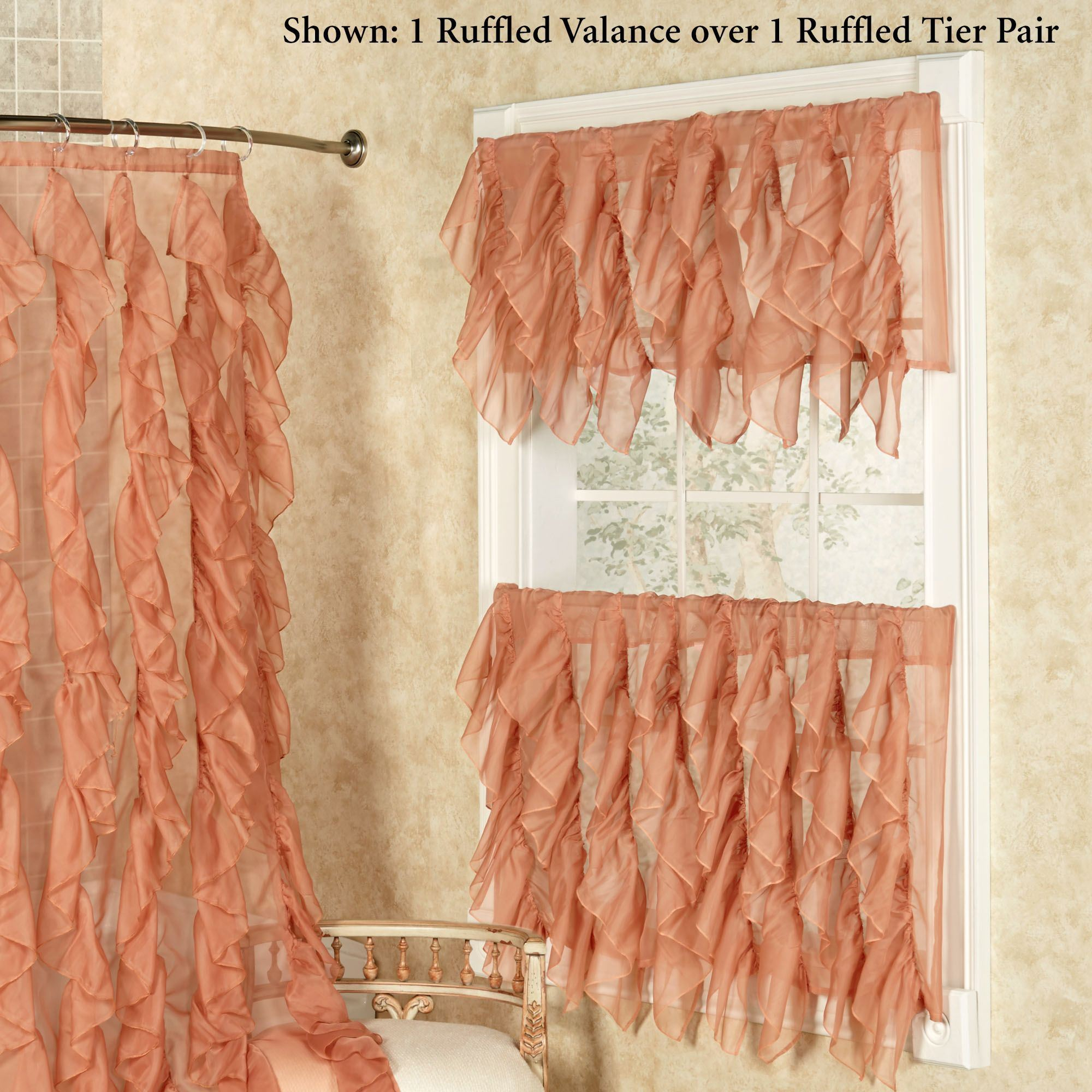 Ruffle Tiered Window Curtains – Home The Honoroak For Chic Sheer Voile Vertical Ruffled Window Curtain Tiers (Gallery 12 of 20)