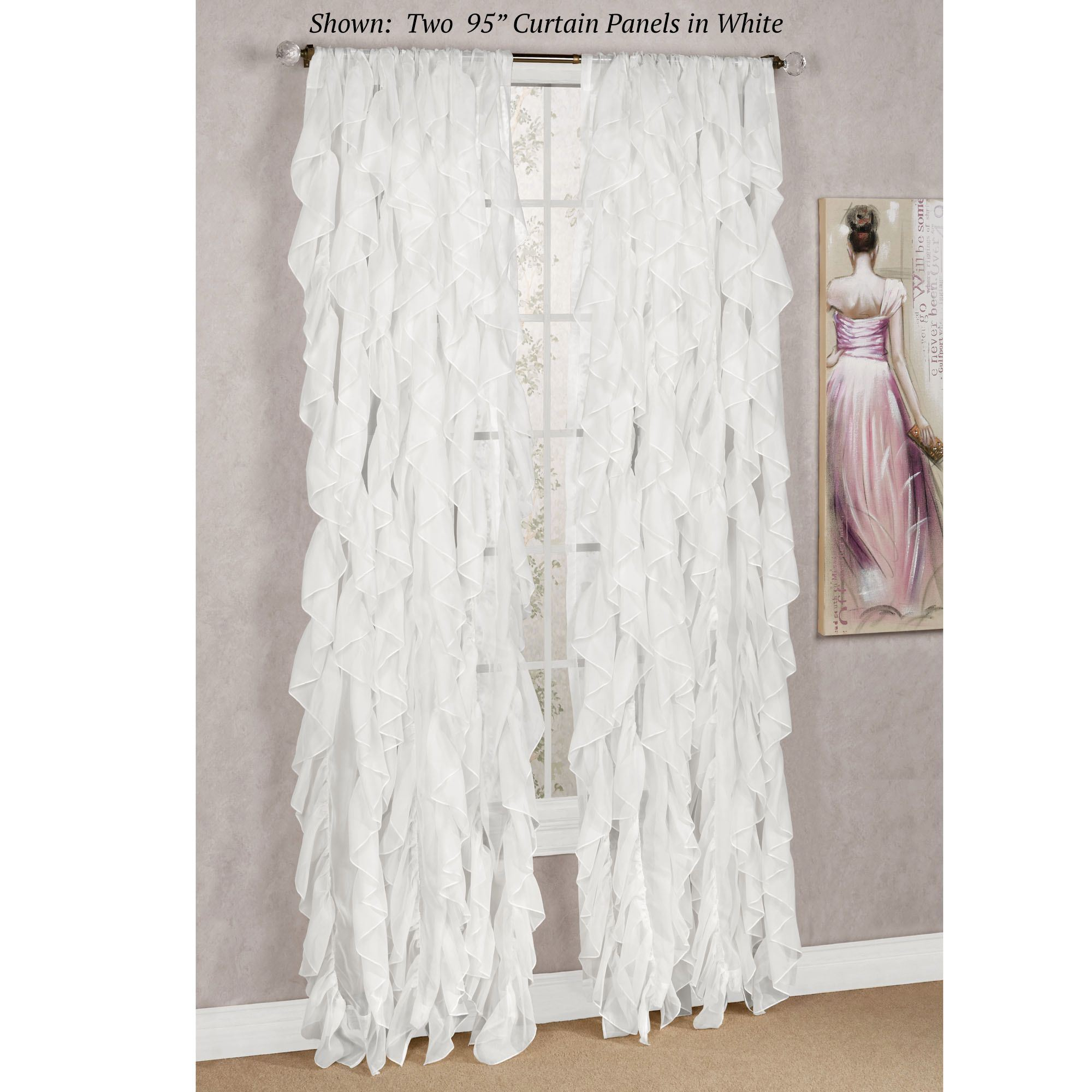 Ruffle Tiered Window Curtains – Home The Honoroak Intended For Chic Sheer Voile Vertical Ruffled Window Curtain Tiers (View 18 of 20)