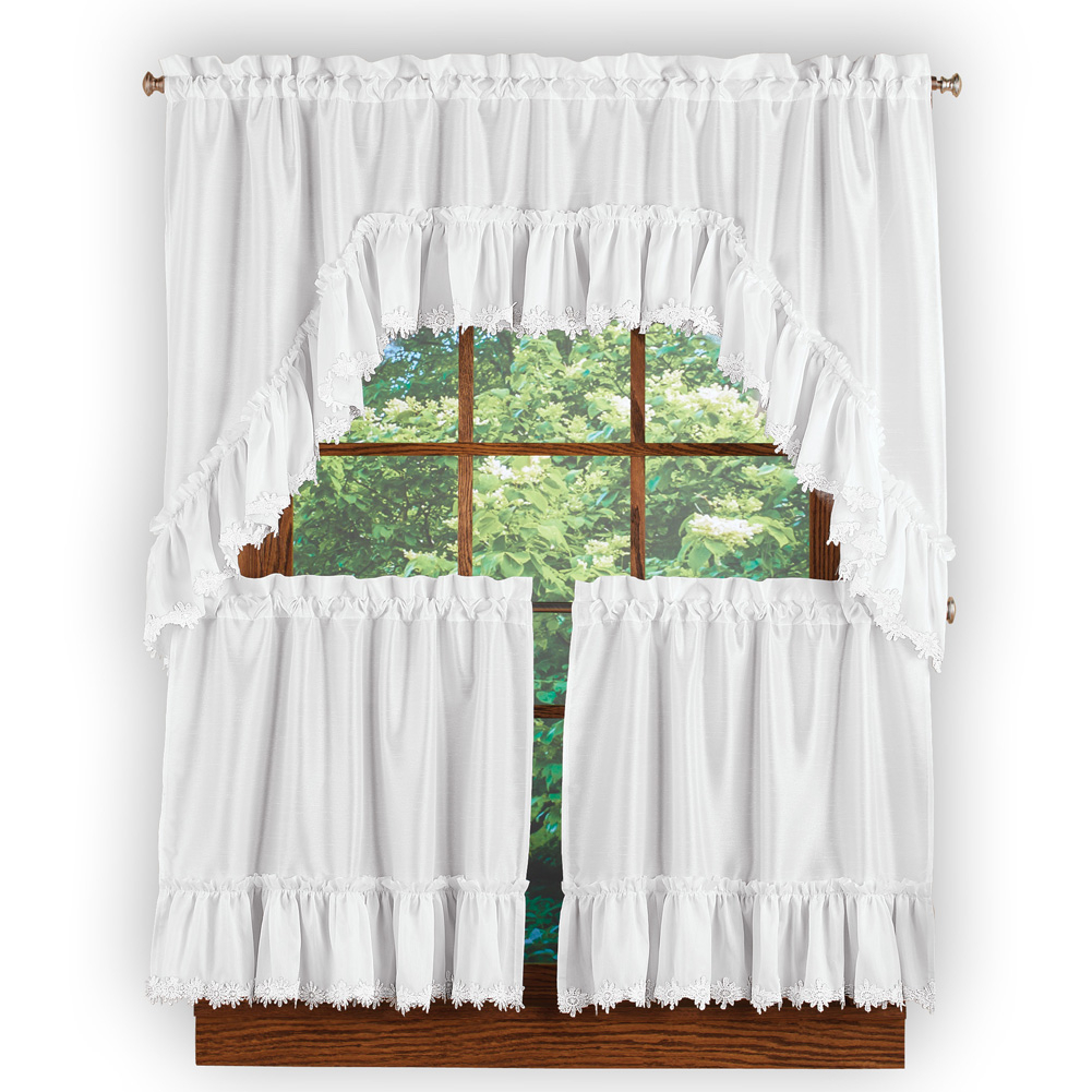 Ruffled Lace Trim Window Curtain Tier And Valance Set With Rod Pocket Top For Easy Hanging – Home Decor For Any Room Pertaining To Window Curtain Tier And Valance Sets (View 16 of 20)