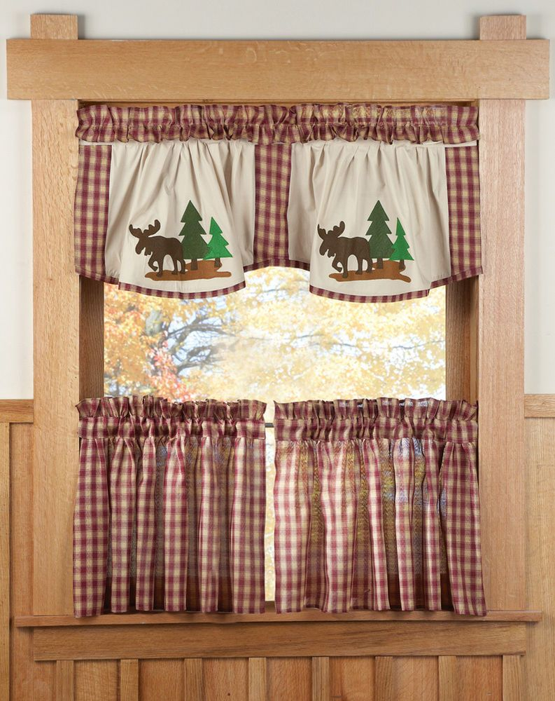Rustic Country Moose Curtain Set 3 Pc Kitchen Lodge Cabin Regarding Lodge Plaid 3 Piece Kitchen Curtain Tier And Valance Sets (Gallery 12 of 20)