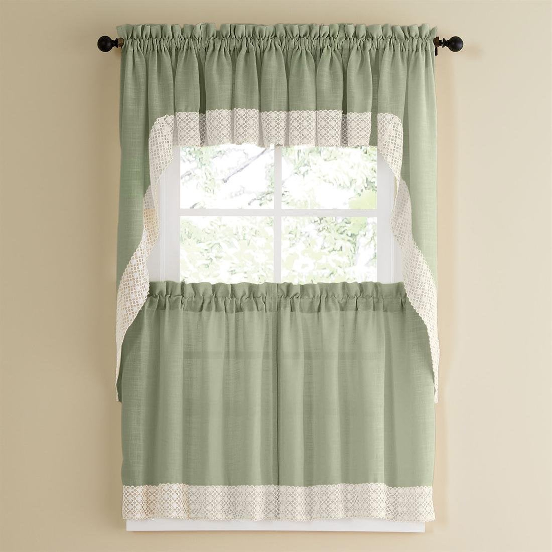 Sage Country Style Curtain Parts With White Daisy Lace Accent (Separates Tiers, Swags And Valances) In Cottage Ivy Curtain Tiers (View 19 of 20)