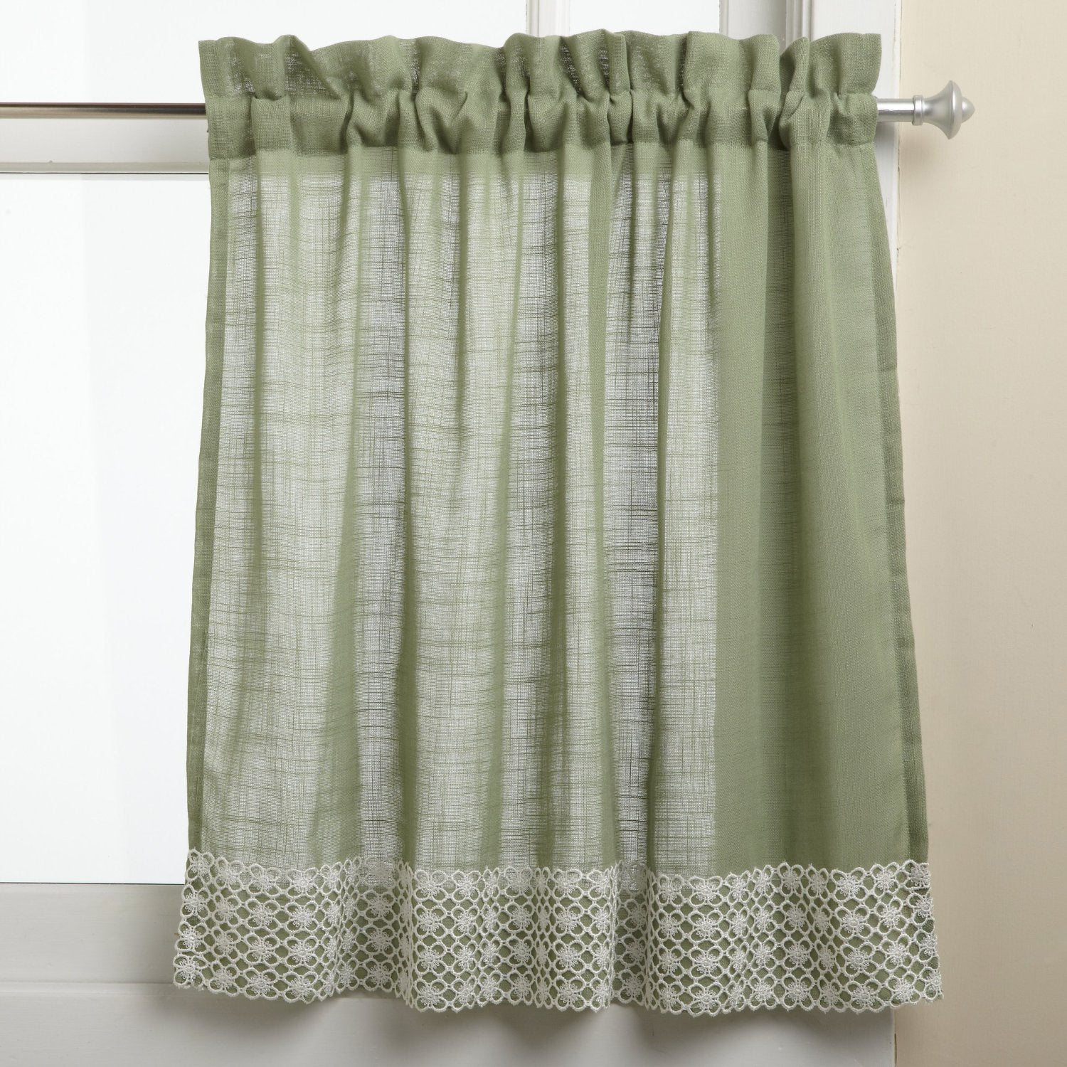 Sage Country Style Curtain Parts With White Daisy Lace Accent (separates Tiers, Swags And Valances) Inside French Vanilla Country Style Curtain Parts With White Daisy Lace Accent (View 5 of 20)