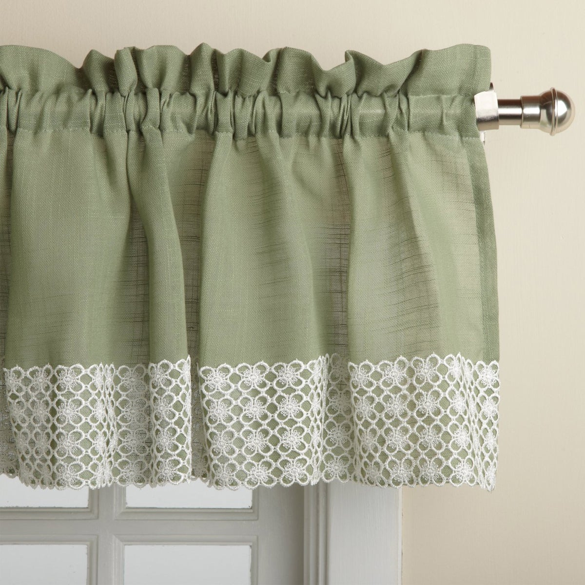 Sage Country Style Curtain Parts With White Daisy Lace Accent (Separates Tiers, Swags And Valances) Throughout Country Style Curtain Parts With White Daisy Lace Accent (View 17 of 20)