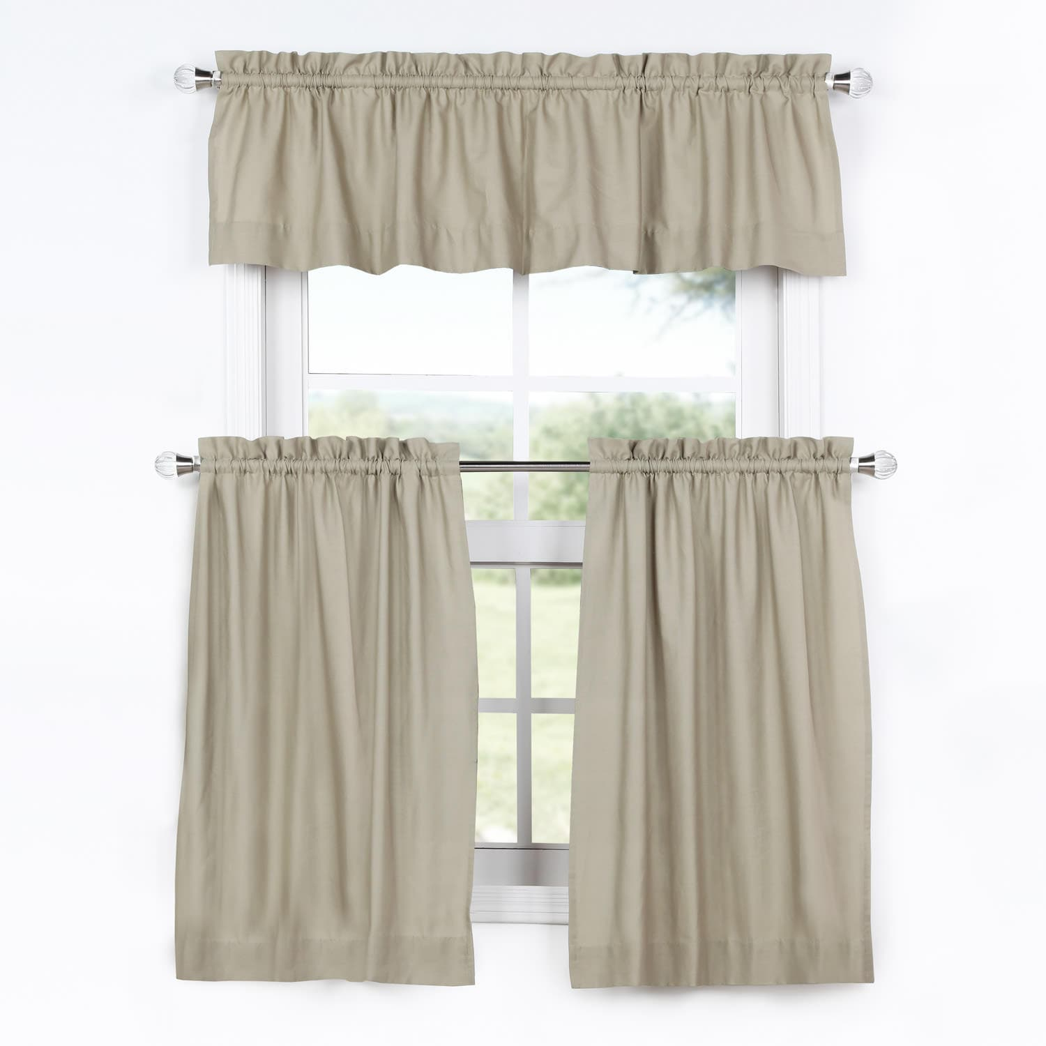 Sandstone Solid Cotton Kitchen Tier Curtain Valance Set 3Pc For Coastal Tier And Valance Window Curtain Sets (View 18 of 20)