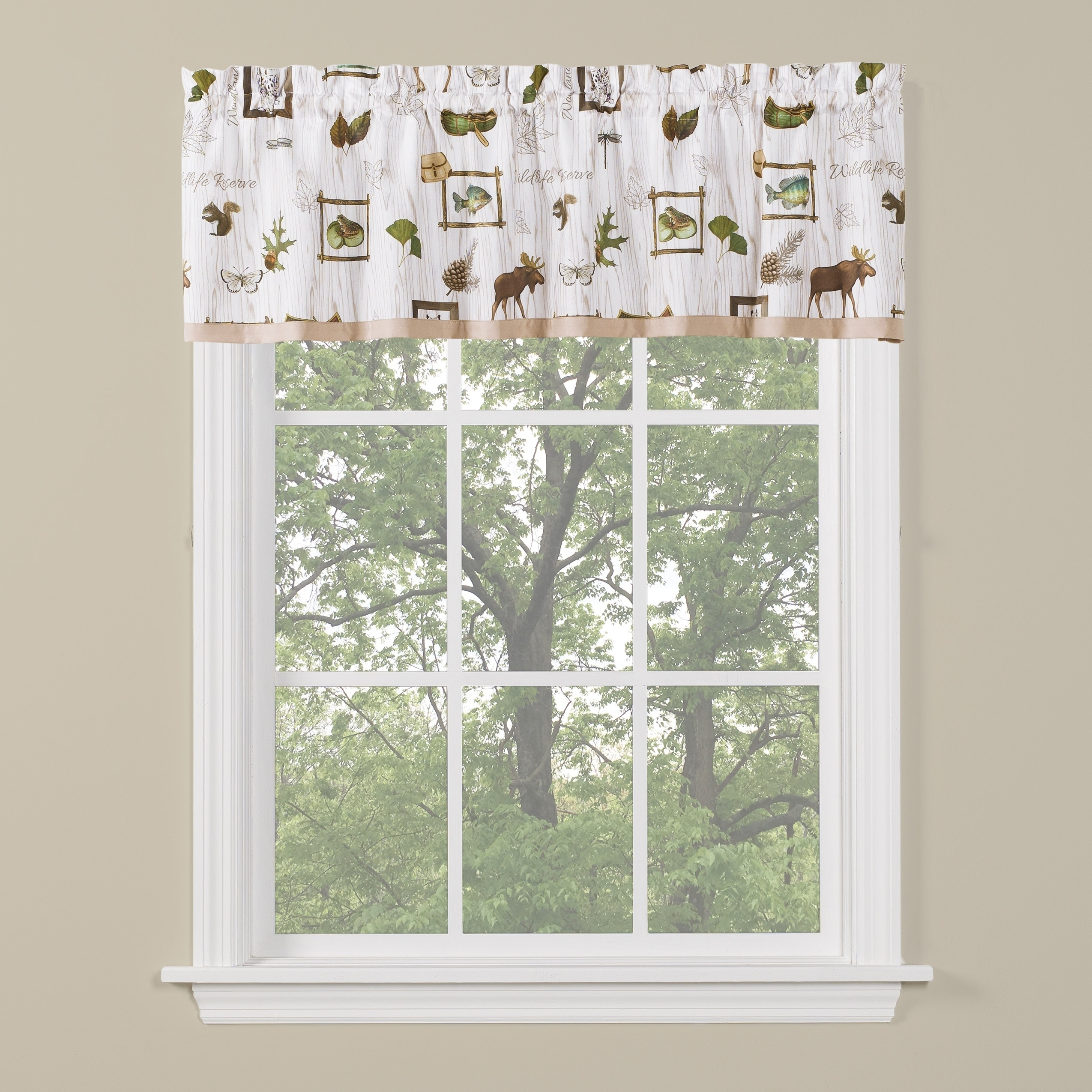 Saturday Knight Ltd Forest Glen Window Tier Pair & Valance, Neutral Within Forest Valance And Tier Pair Curtains (View 3 of 20)