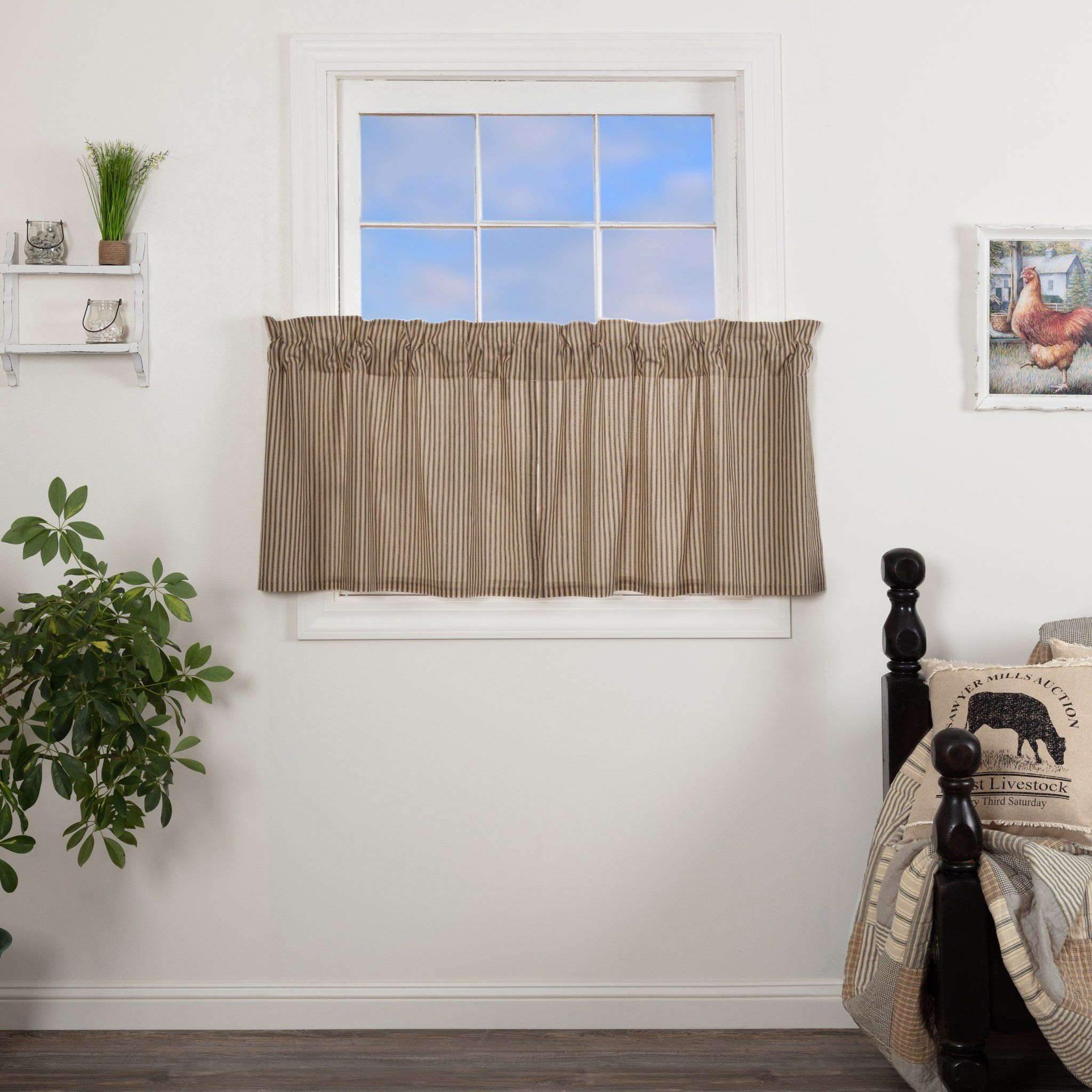 Sawyer Mill Charcoal Ticking Stripe Lined Tier Curtains 24 For Linen Stripe Rod Pocket Sheer Kitchen Tier Sets (View 9 of 20)