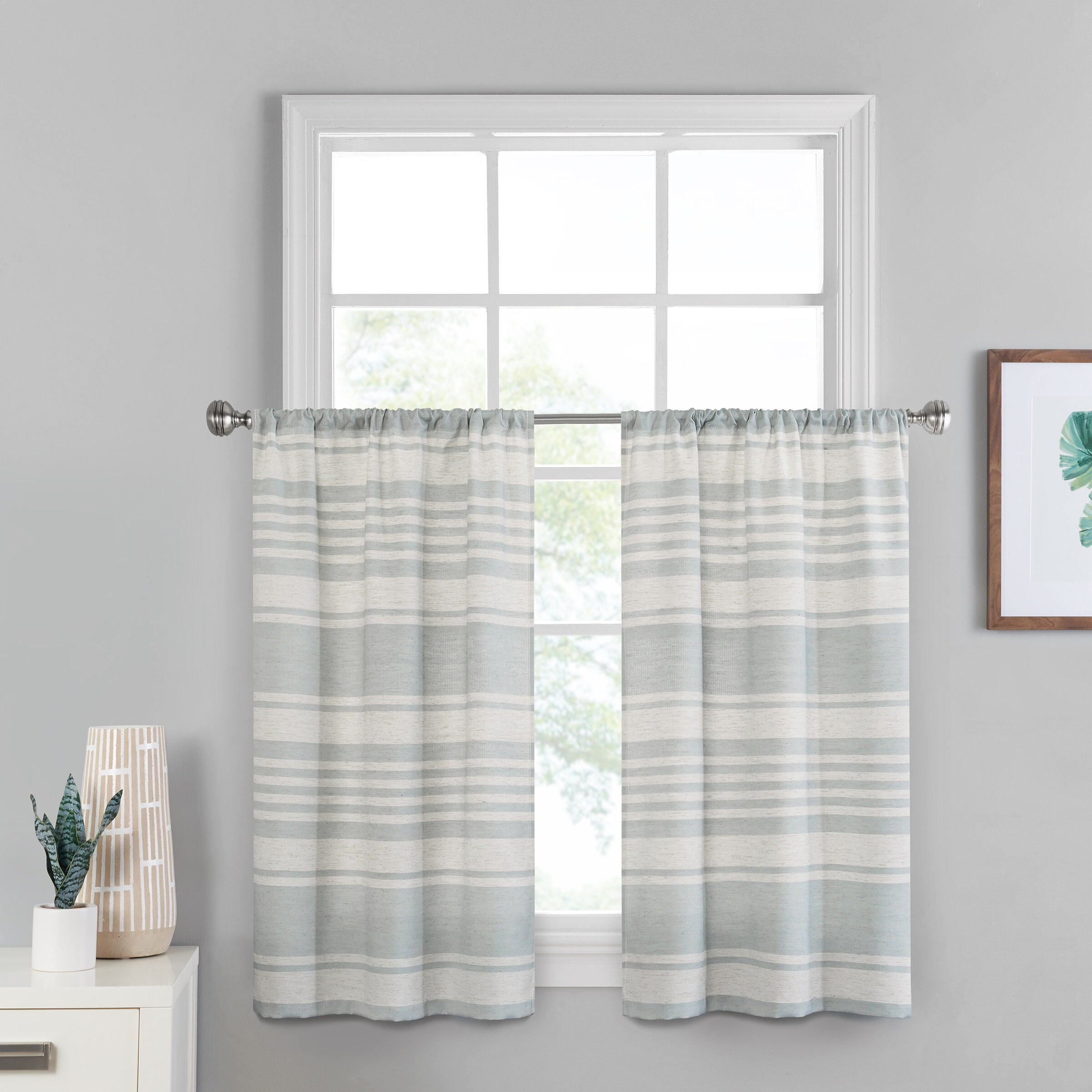 Scheffler Window Solutions Kitchen Curtain Intended For Geometric Print Microfiber 3 Piece Kitchen Curtain Valance And Tiers Sets (View 8 of 20)