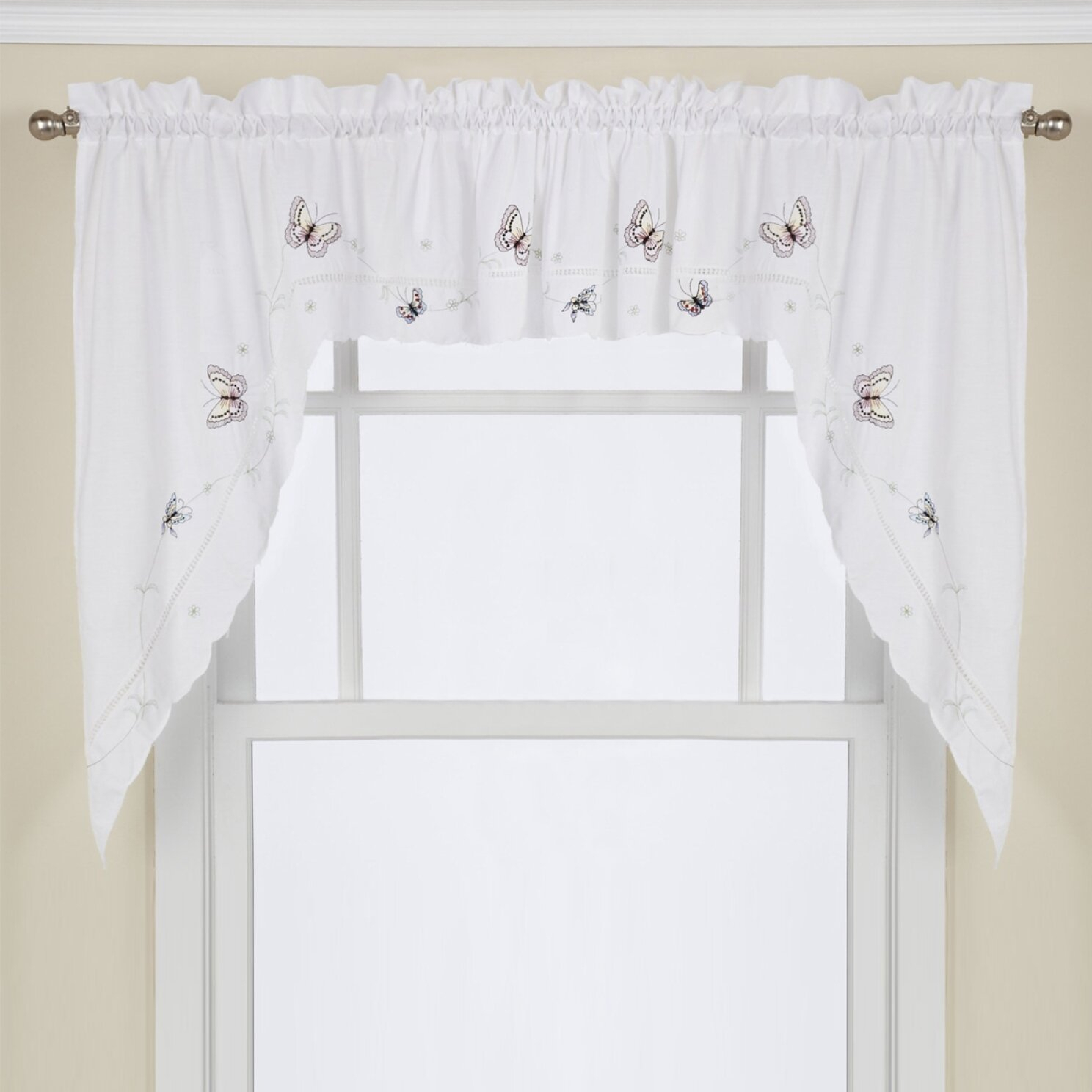 """Schlater Embroidered Butterfly Kitchen 29"""" Swag Curtain Valance In Abby Embroidered 5 Piece Curtain Tier And Swag Sets (Image 19 of 20)"""