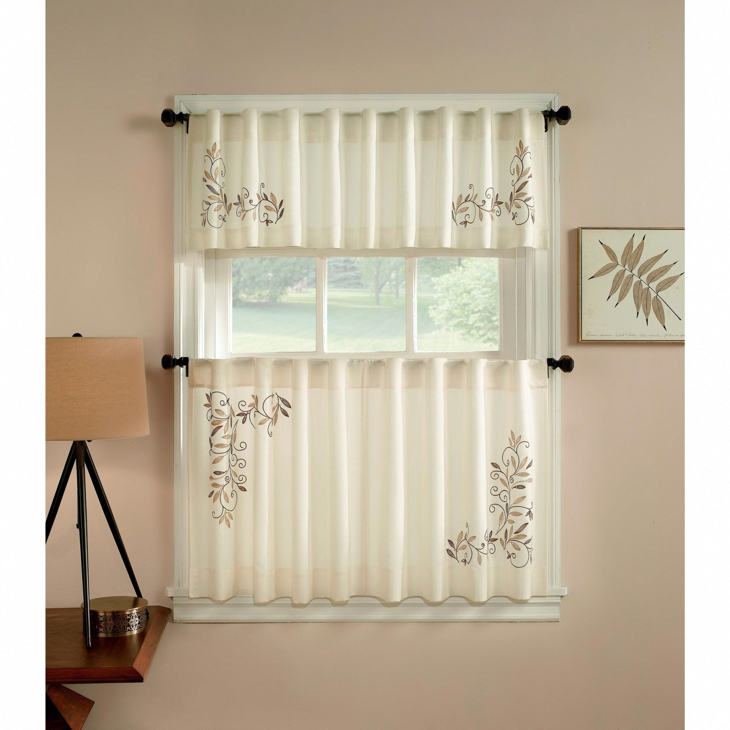 Scroll Leaf 3 Piece Curtain Tier And Valance Set (24 Inch Inside Touch Of Spring 24 Inch Tier Pairs (View 8 of 20)